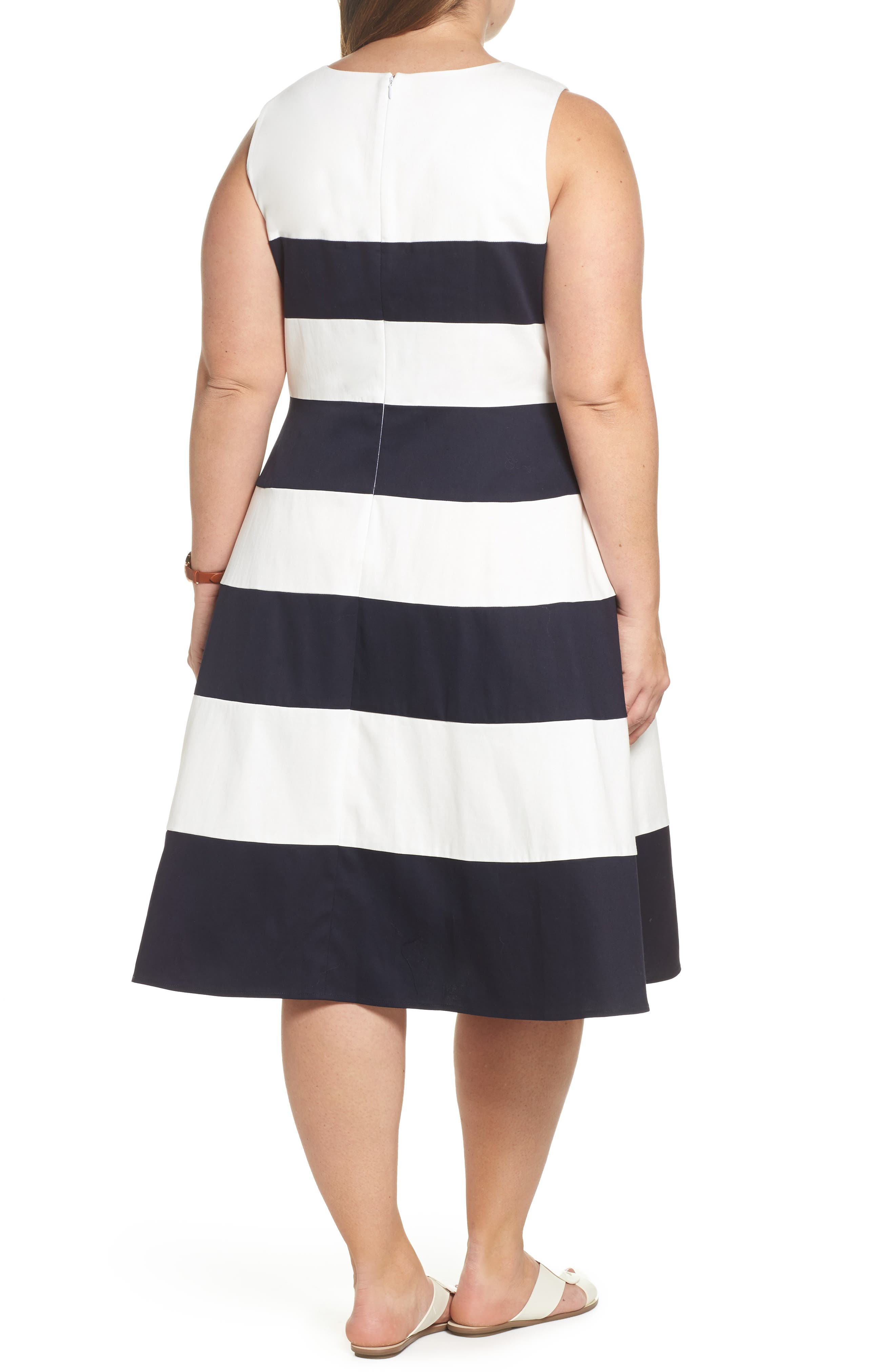 Stripe Fit & Flare Dress,                             Alternate thumbnail 2, color,                             NAVY- WHITE STRIPE