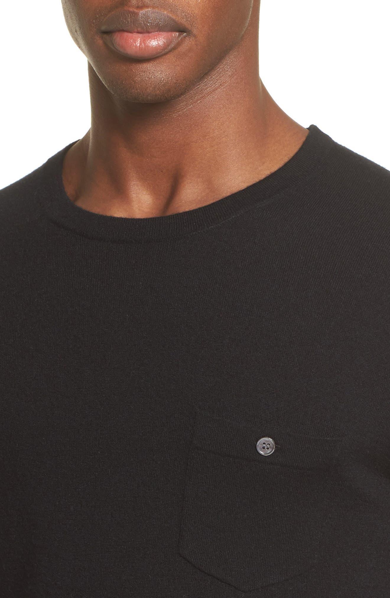 Cashmere Pocket T-Shirt,                             Alternate thumbnail 4, color,                             001