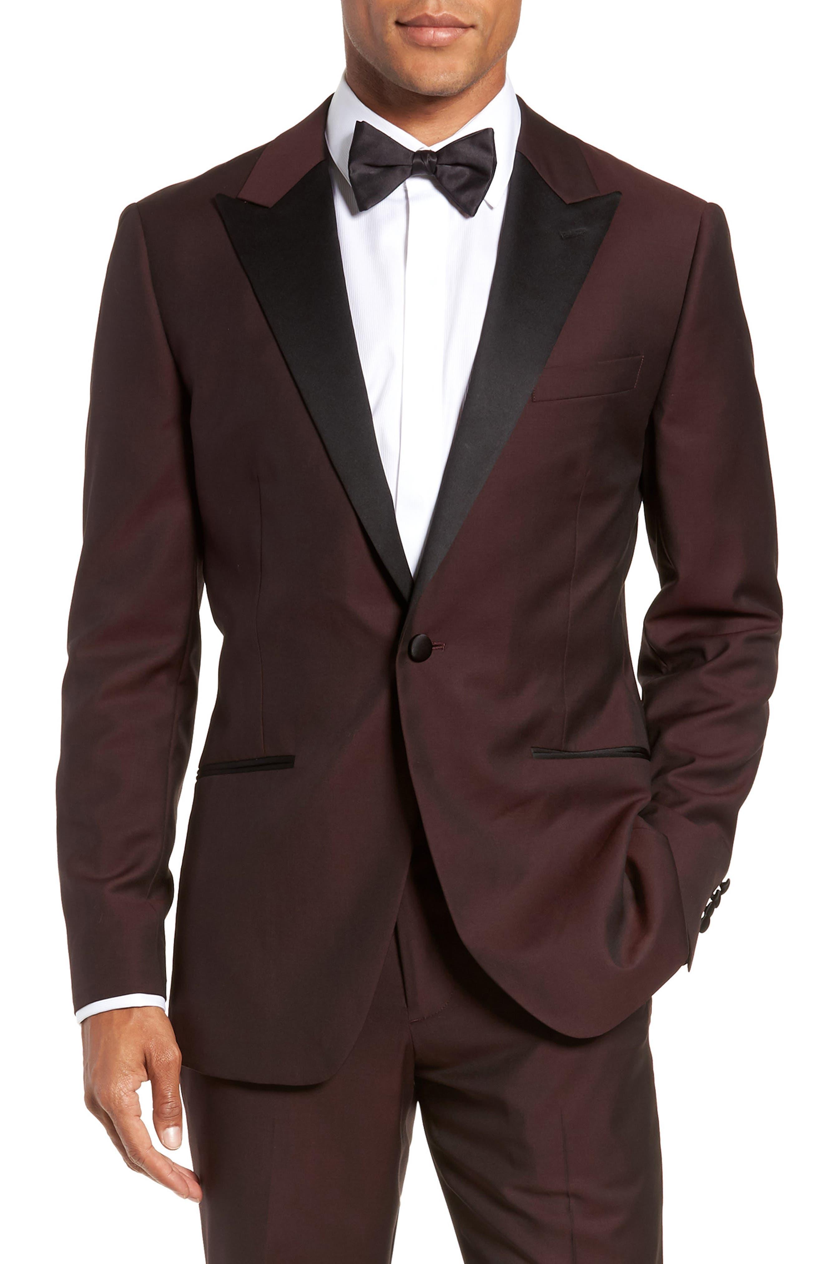 Capstone Slim Fit Italian Wool Dinner Jacket,                             Main thumbnail 1, color,                             MAROON