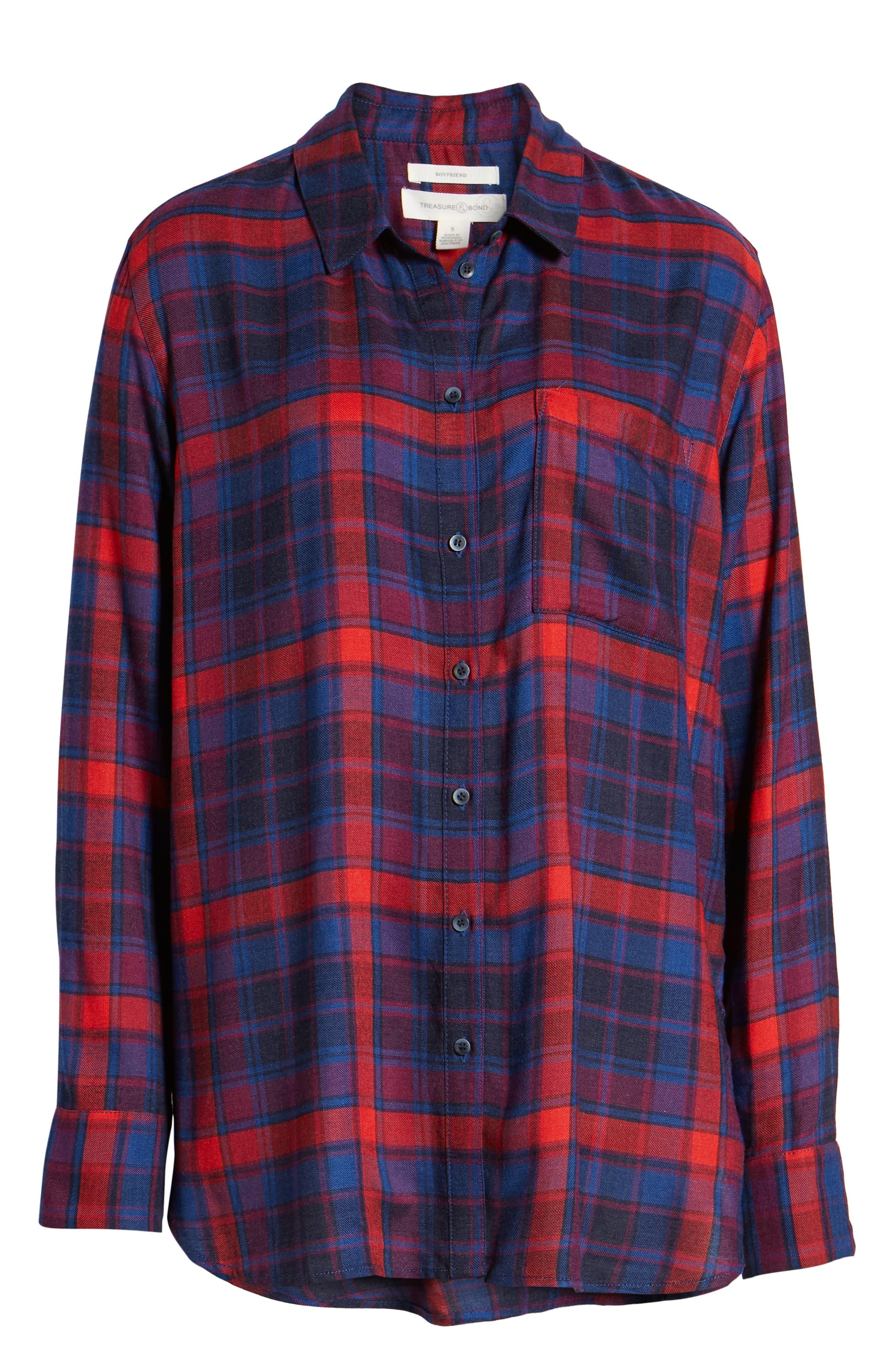 Plaid Boyfriend Shirt,                             Alternate thumbnail 6, color,                             BLUE SODALIGHT BEAMING PLAID