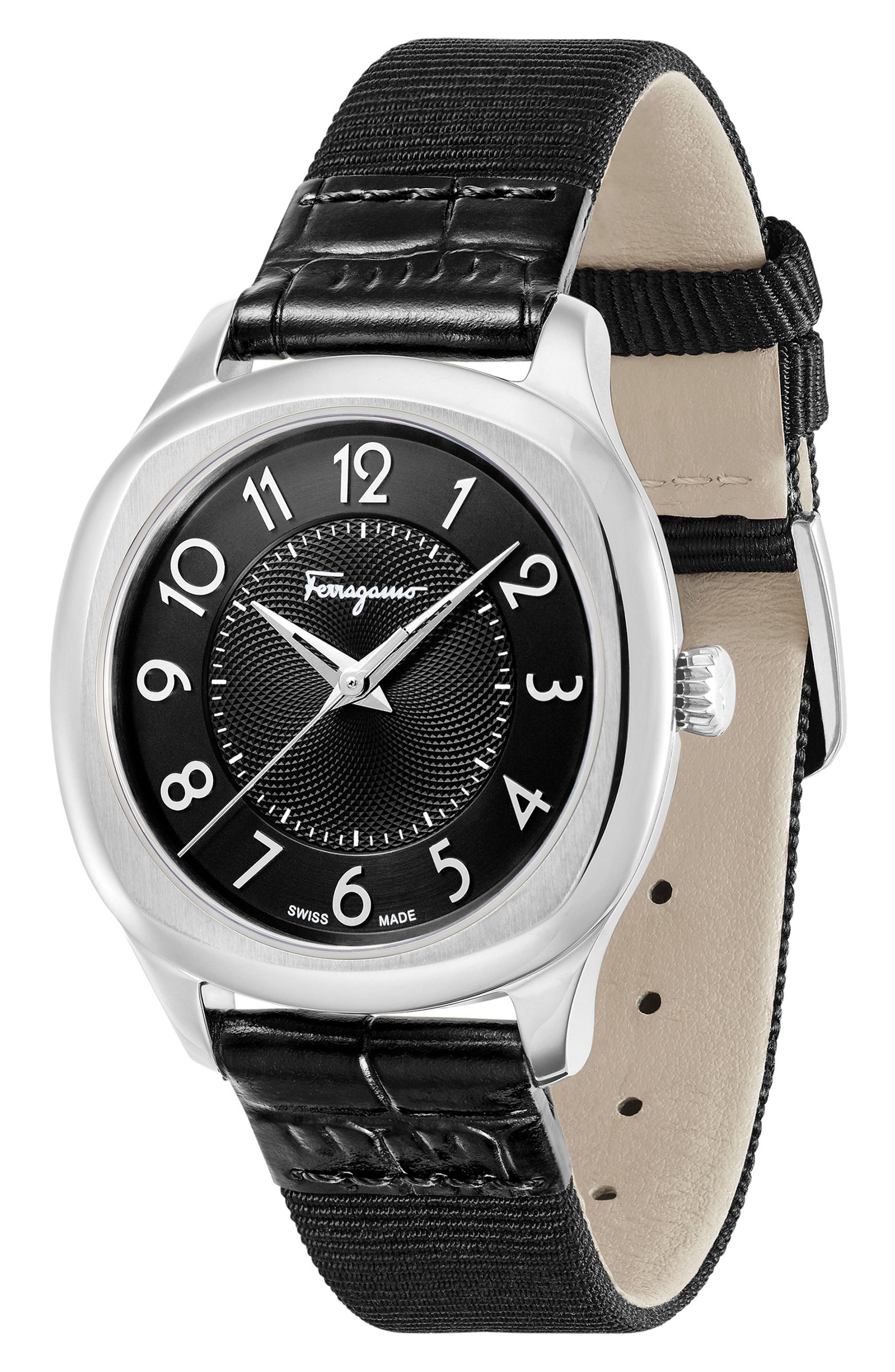 Dual Leather Strap Watch, 36mm,                             Alternate thumbnail 5, color,                             BLACK/ SILVER