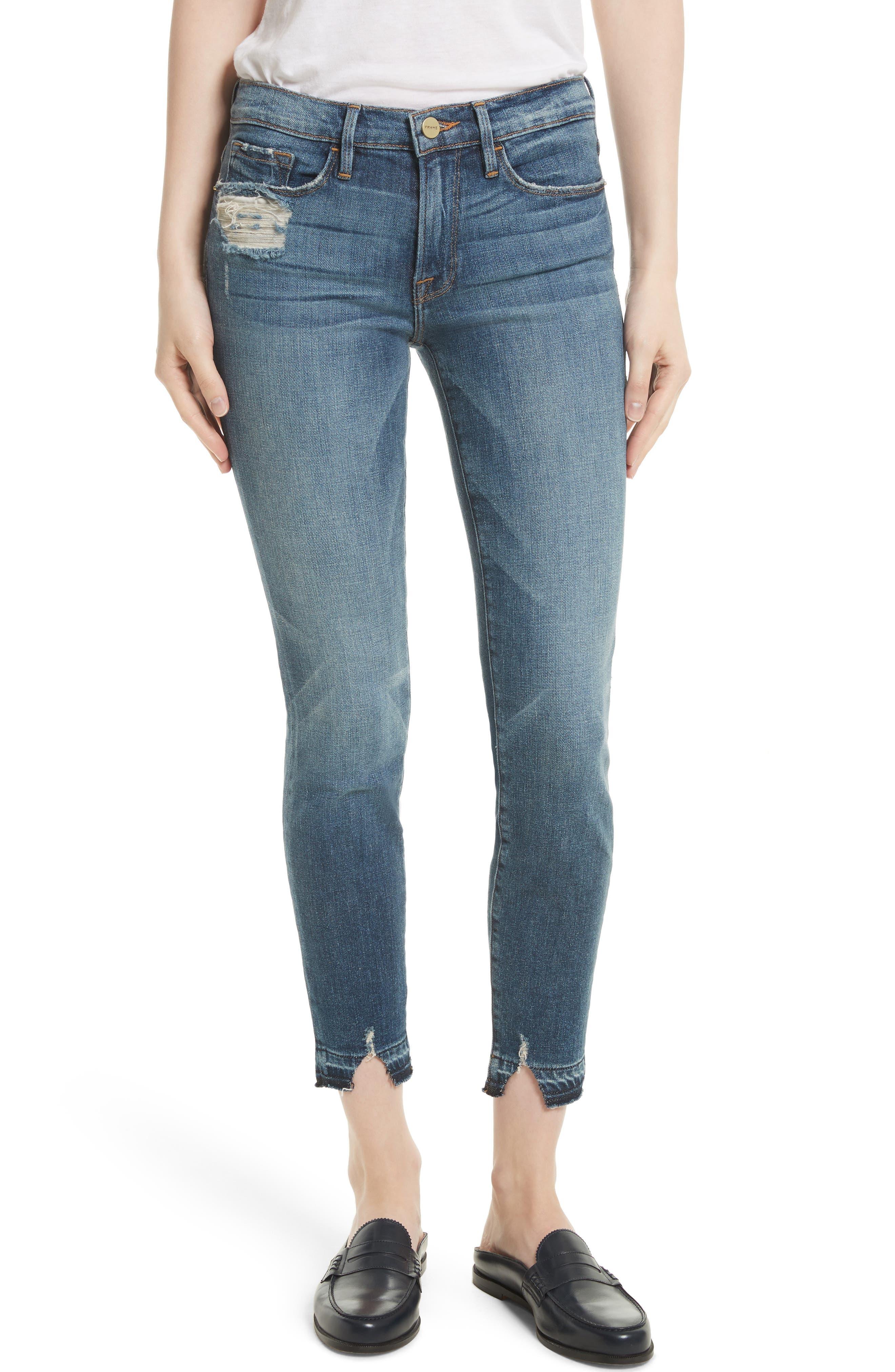 FRAME,                             Le Skinny de Jeanne Crop Release Hem Jeans,                             Main thumbnail 1, color,                             420