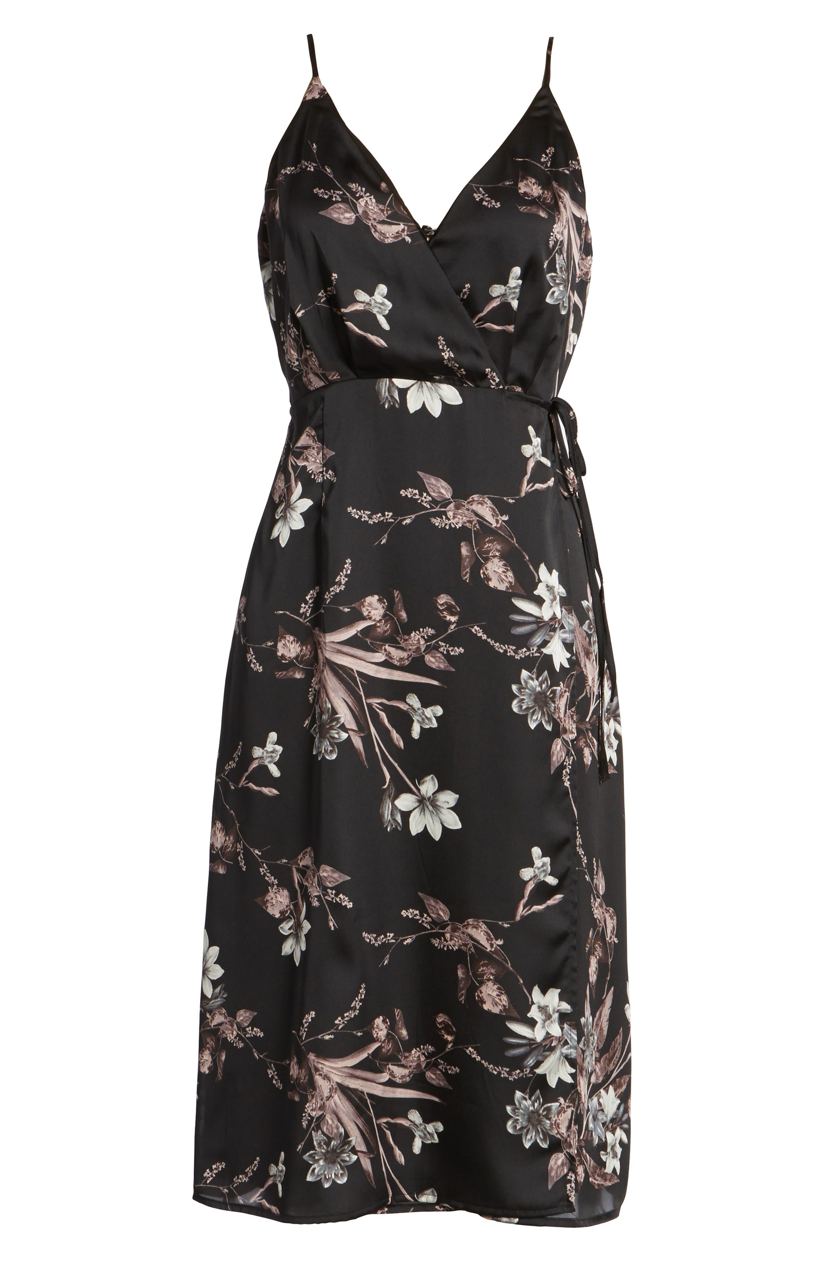 Satin Wrap Dress,                             Alternate thumbnail 6, color,                             001