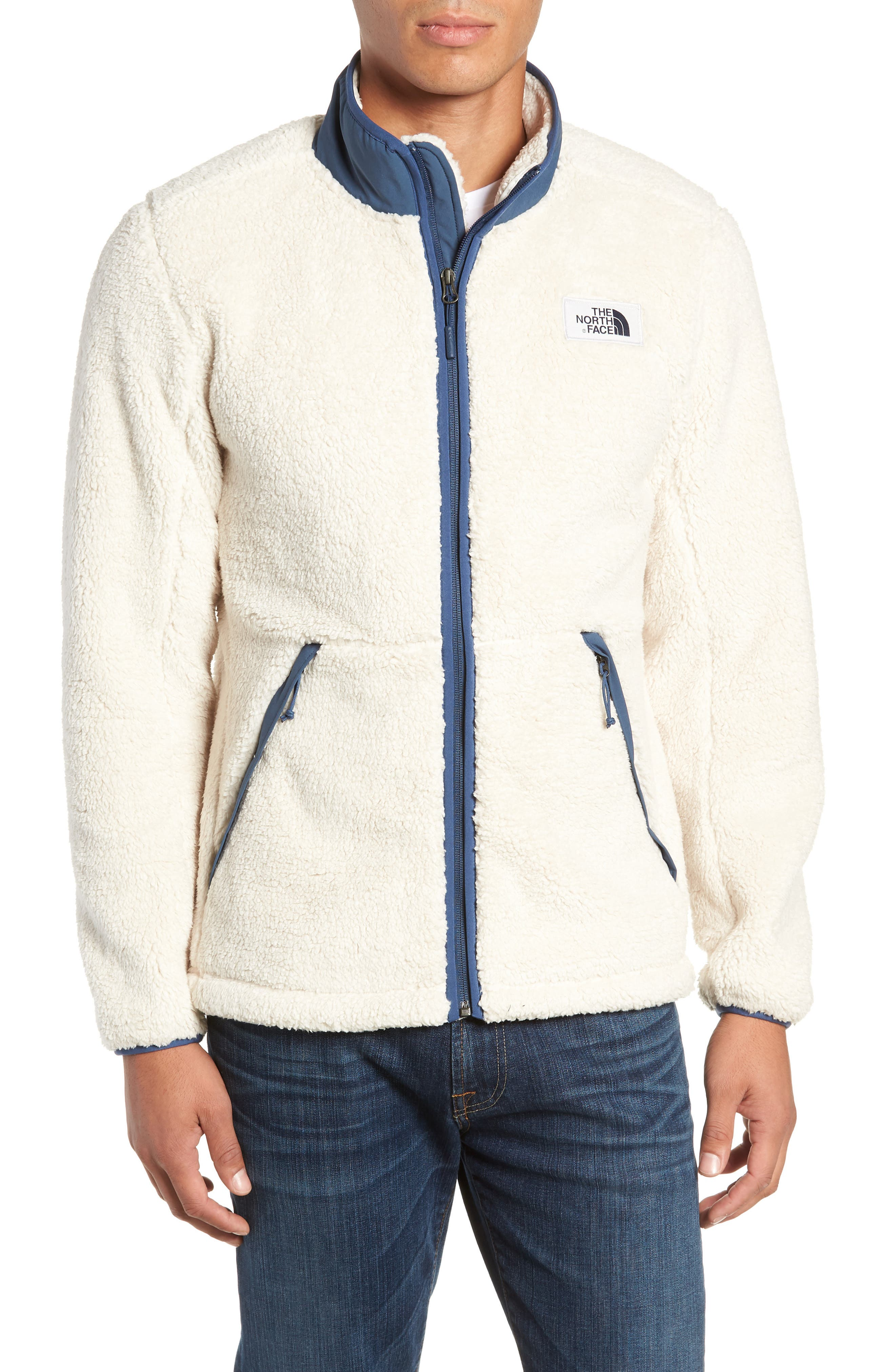 Campshire Zip Fleece Jacket,                             Alternate thumbnail 4, color,                             VINTAGE WHITE/ SHADY BLUE