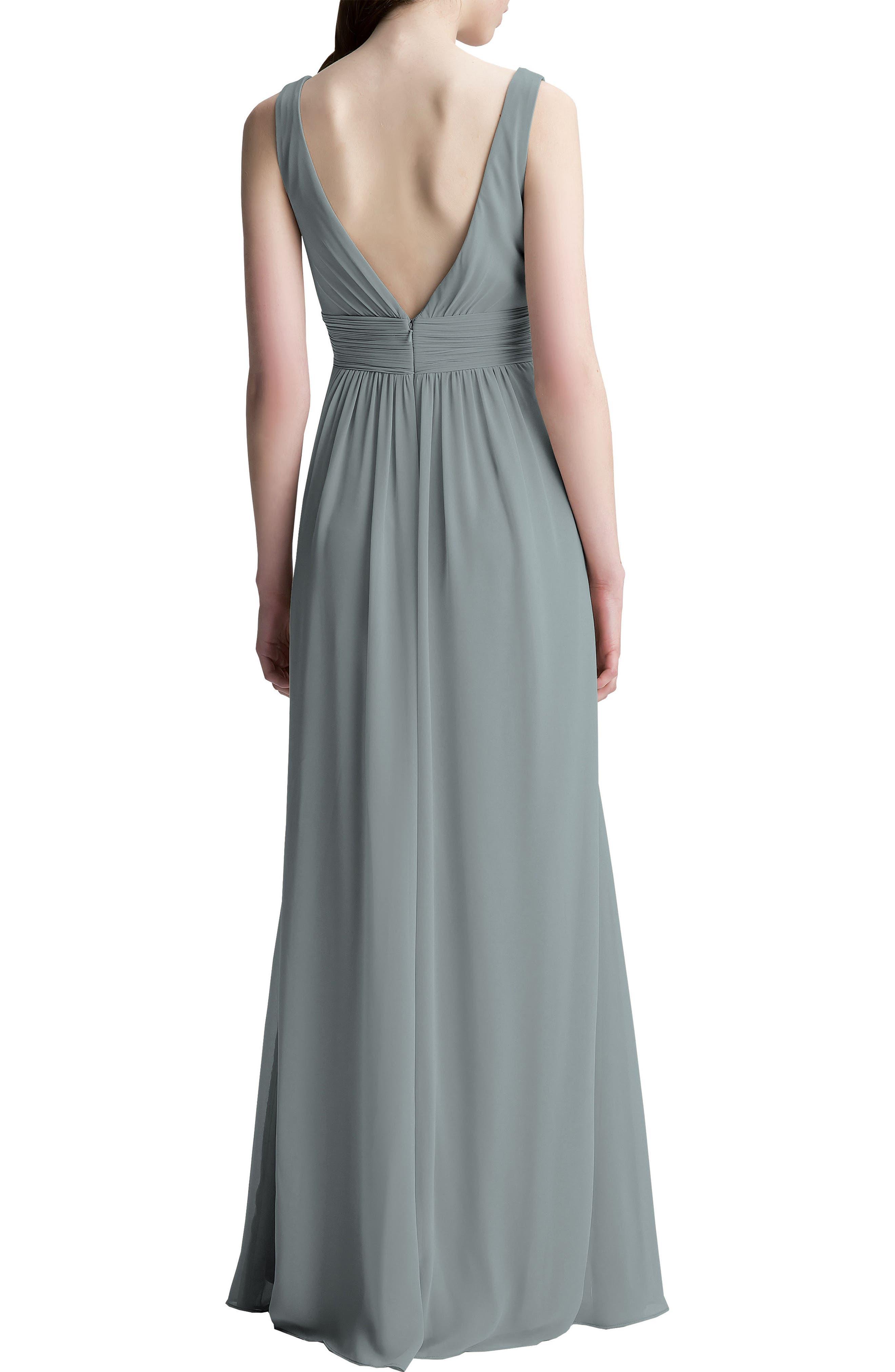 V-Neck Chiffon A-Line Gown,                             Alternate thumbnail 2, color,                             SLATE