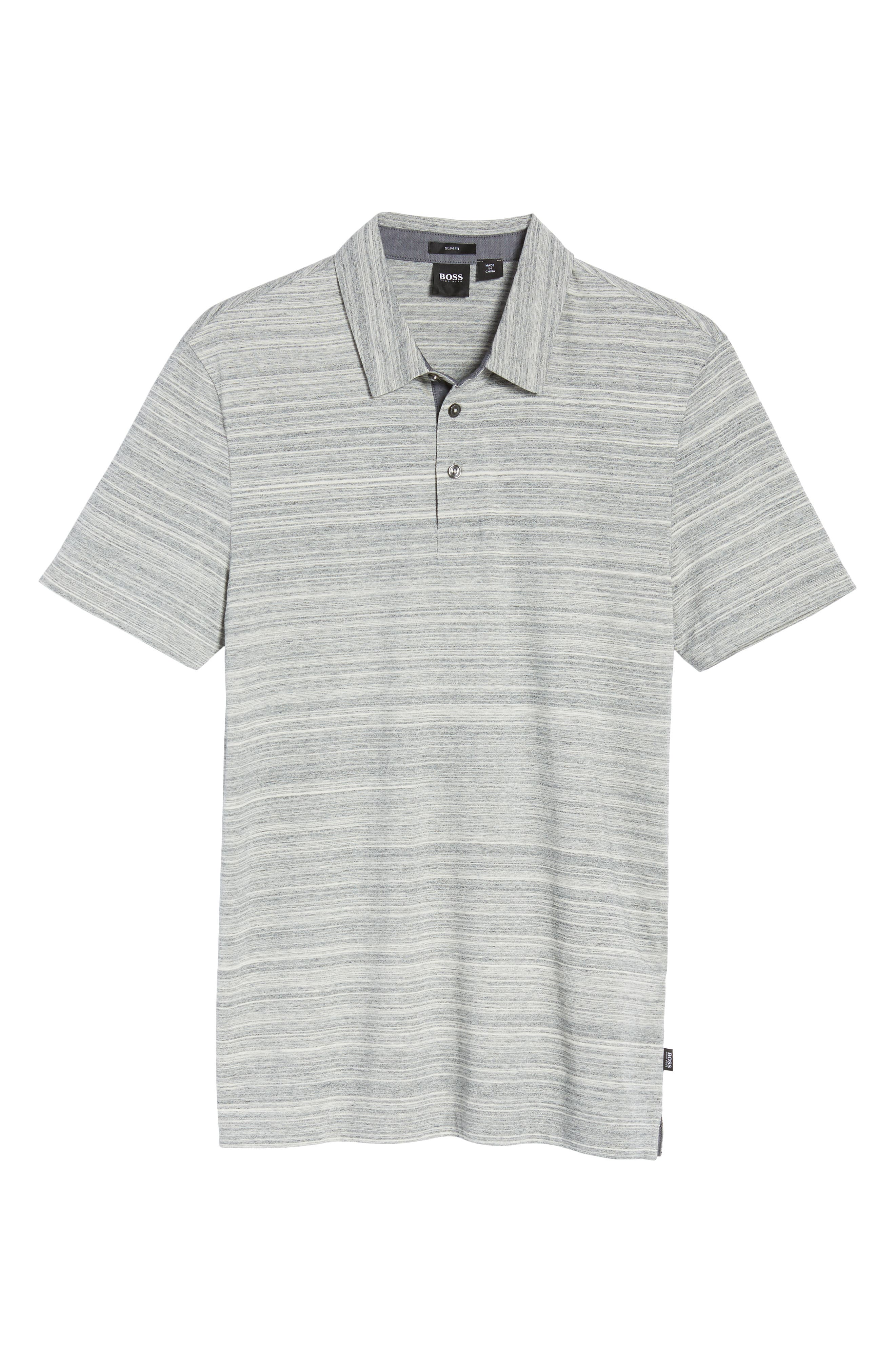 Place Slim Fit Space Dyed Polo,                             Alternate thumbnail 6, color,                             LIGHT GREY