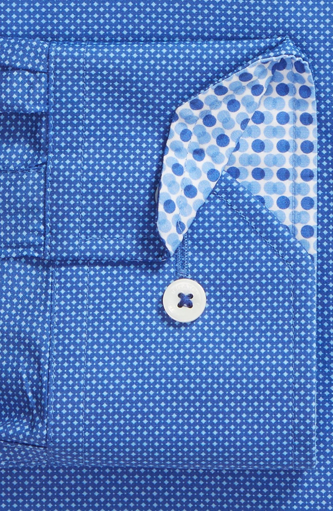 Trim Fit Print Dress Shirt,                             Alternate thumbnail 2, color,                             ROYAL