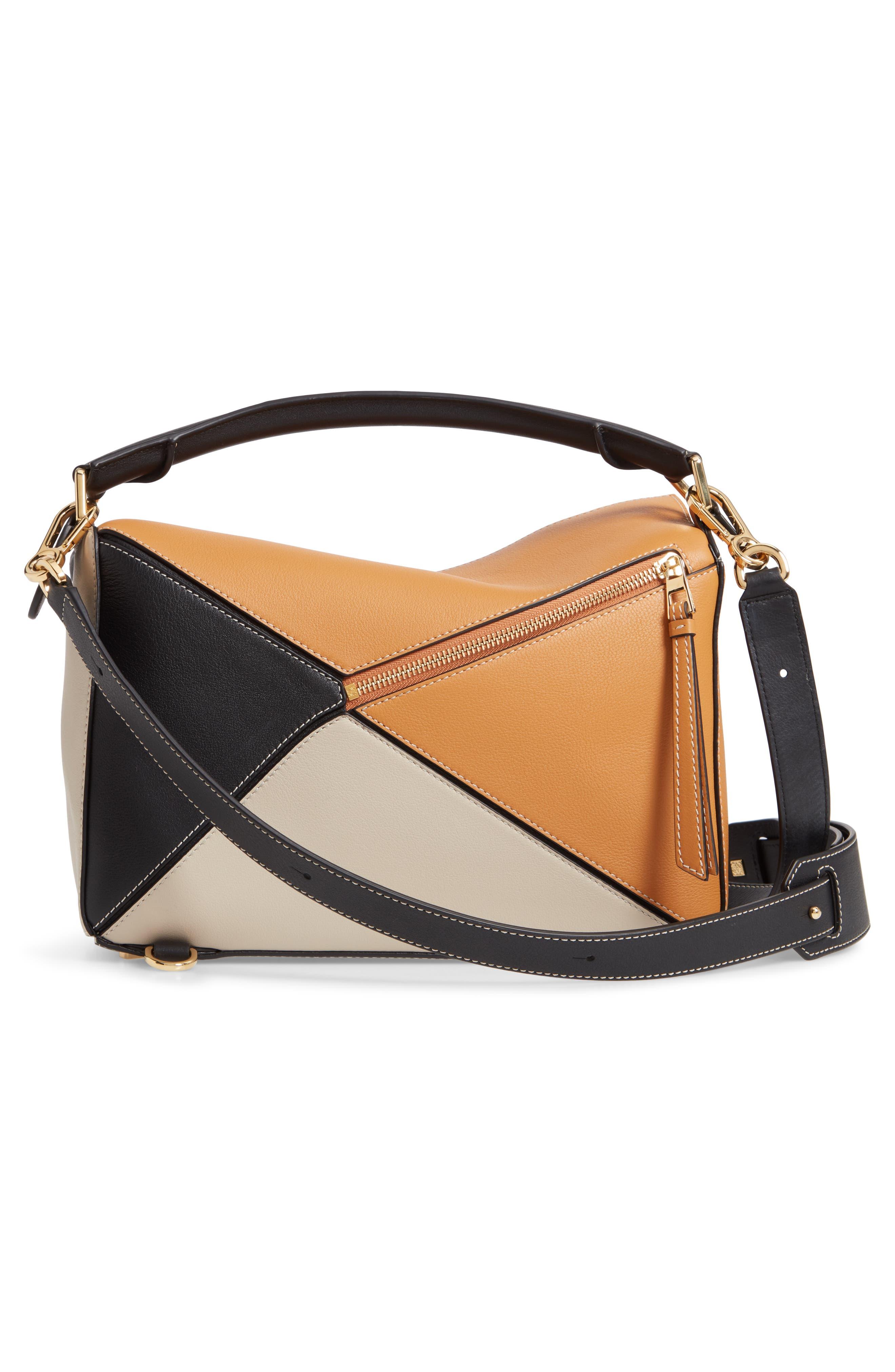 LOEWE,                             Puzzle Calfskin Leather Shoulder Bag,                             Alternate thumbnail 4, color,                             AMBER/ LIGHT OAT