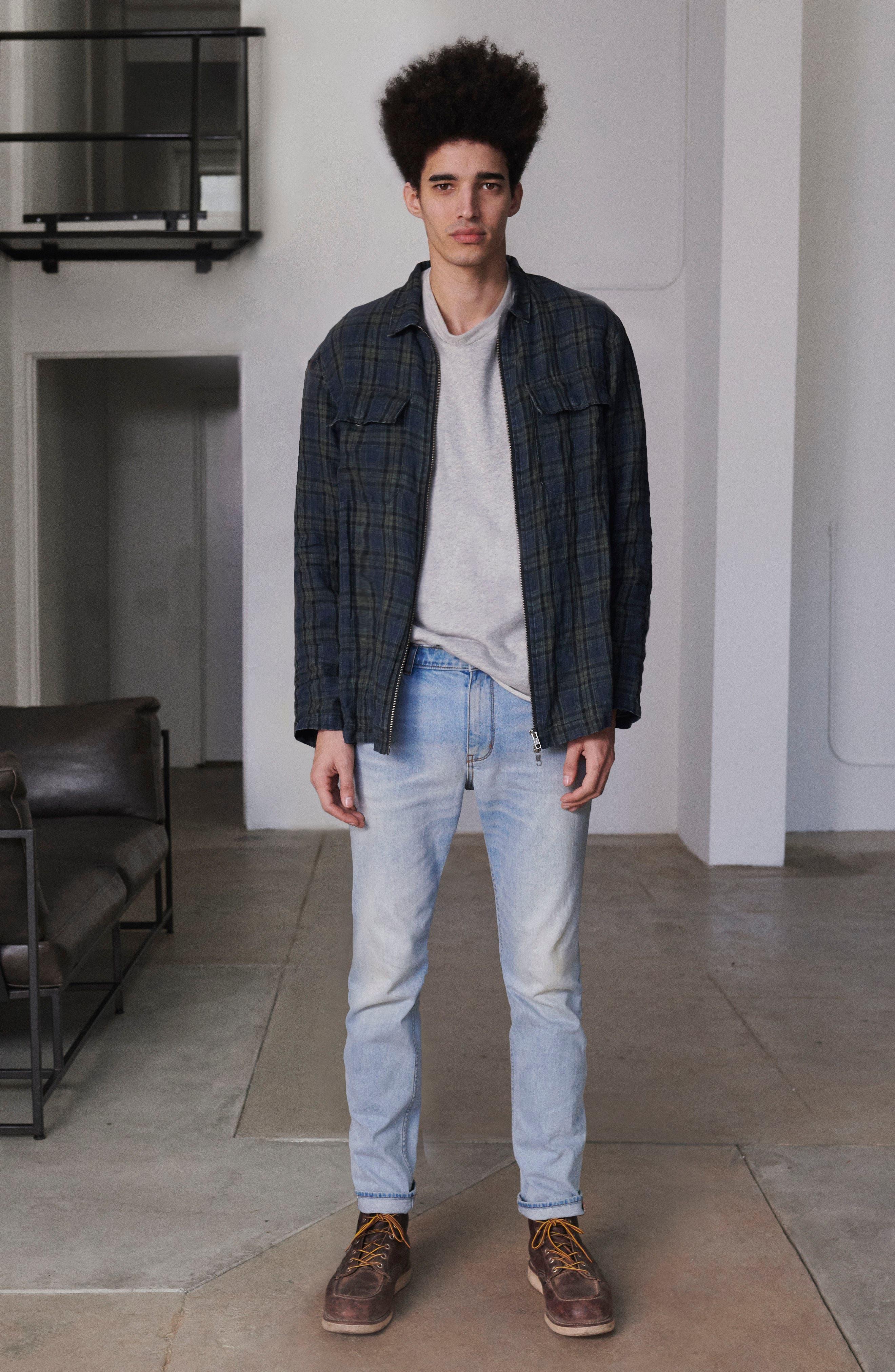 Plaid Zip Front Linen Shirt Jacket,                             Alternate thumbnail 8, color,                             315