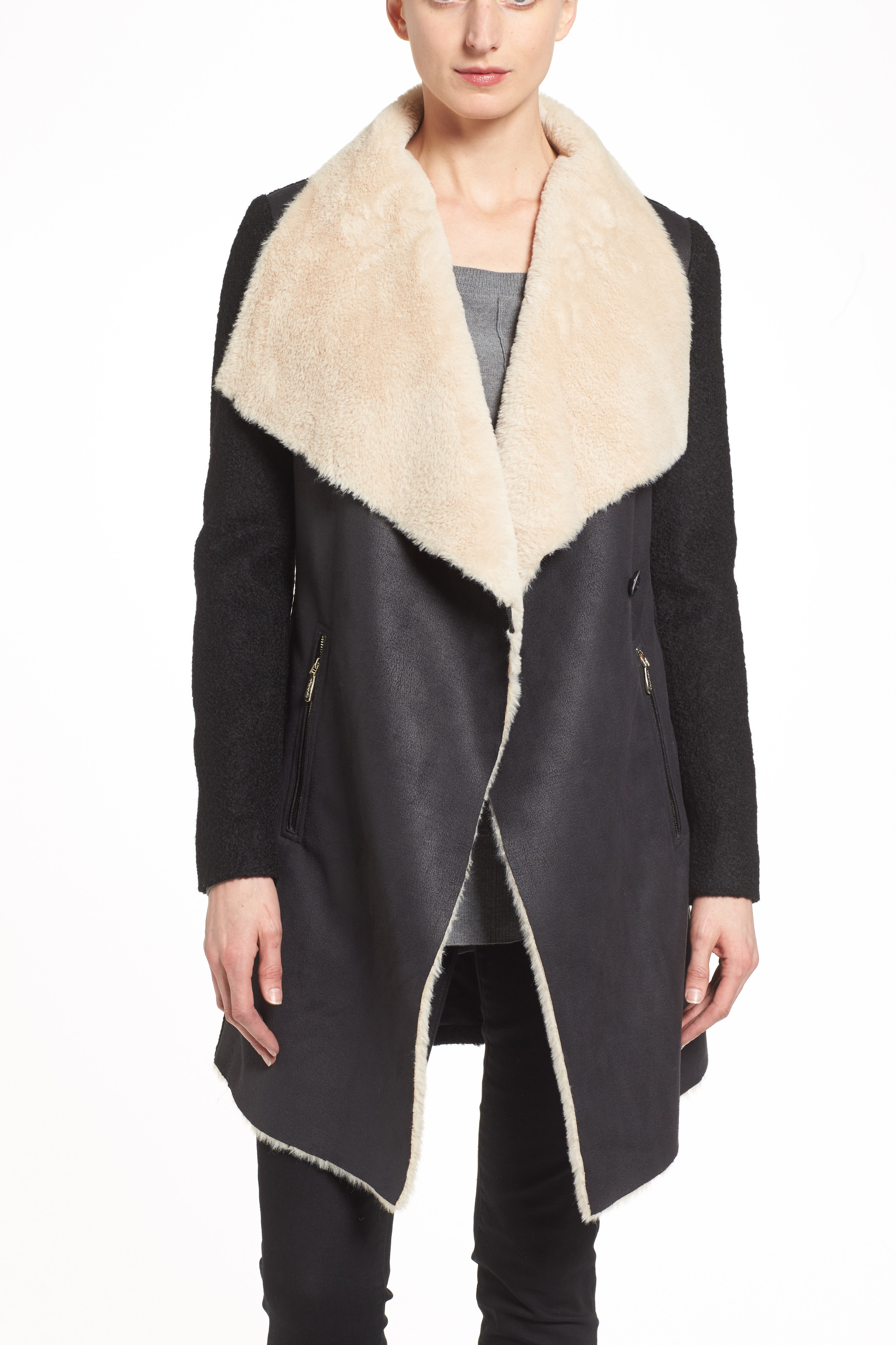 Mixed Media Coat with Faux Shearling Front,                             Alternate thumbnail 3, color,                             001