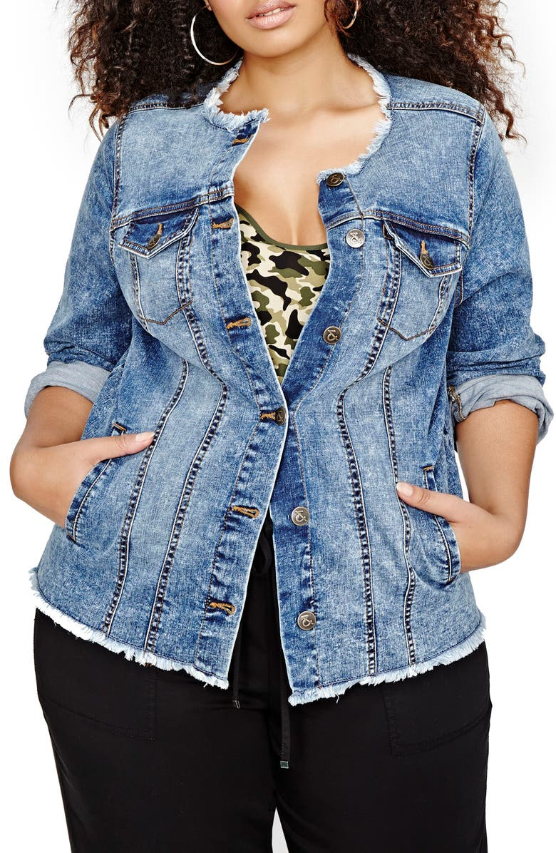 a3f96471db5 ADDITION ELLE LOVE AND LEGEND Frayed Collarless Denim Jacket (Plus ...