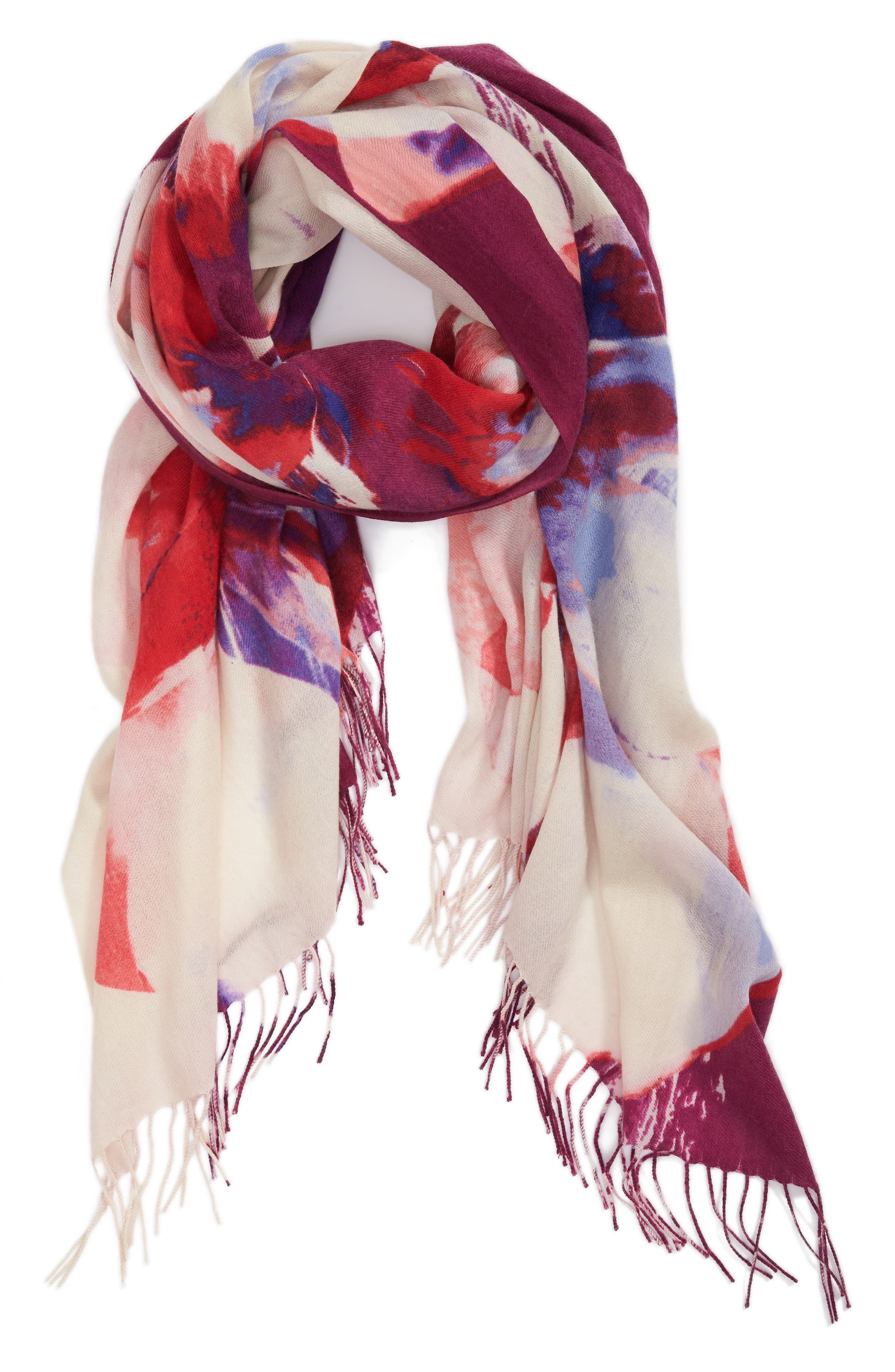 Tissue Print Wool & Cashmere Wrap Scarf,                             Alternate thumbnail 54, color,
