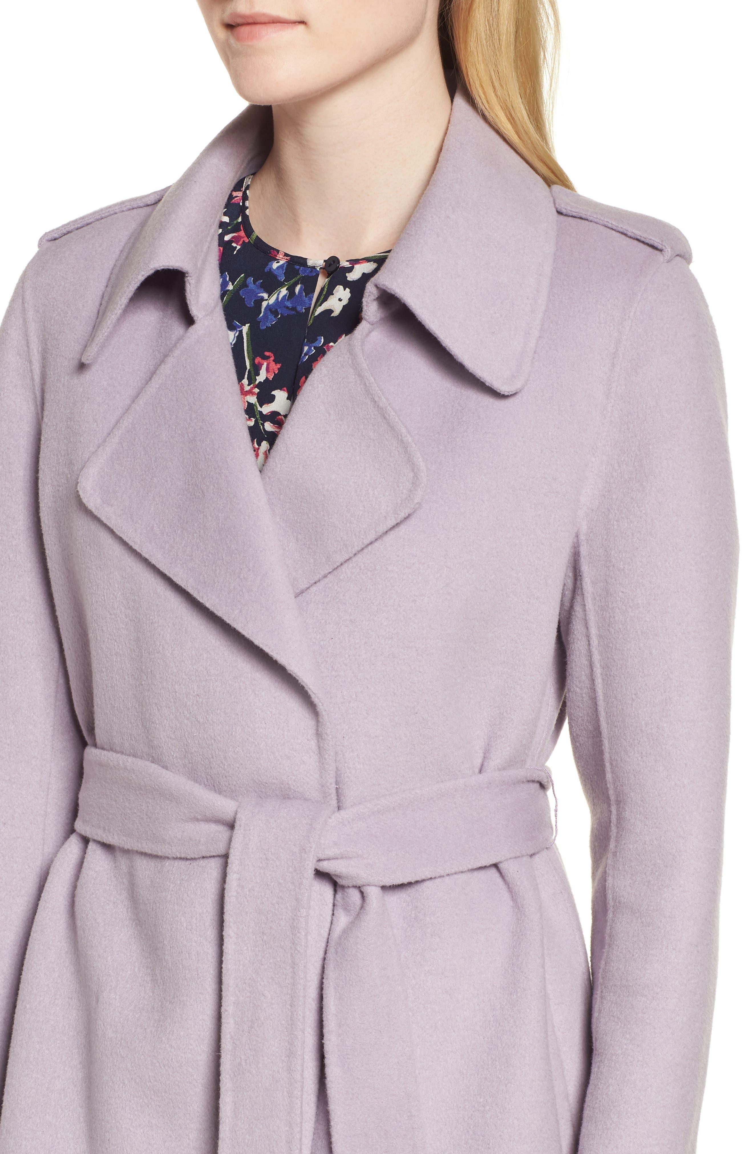 Double Face Wool Blend Wrap Front Coat,                             Alternate thumbnail 4, color,                             LAVENDER