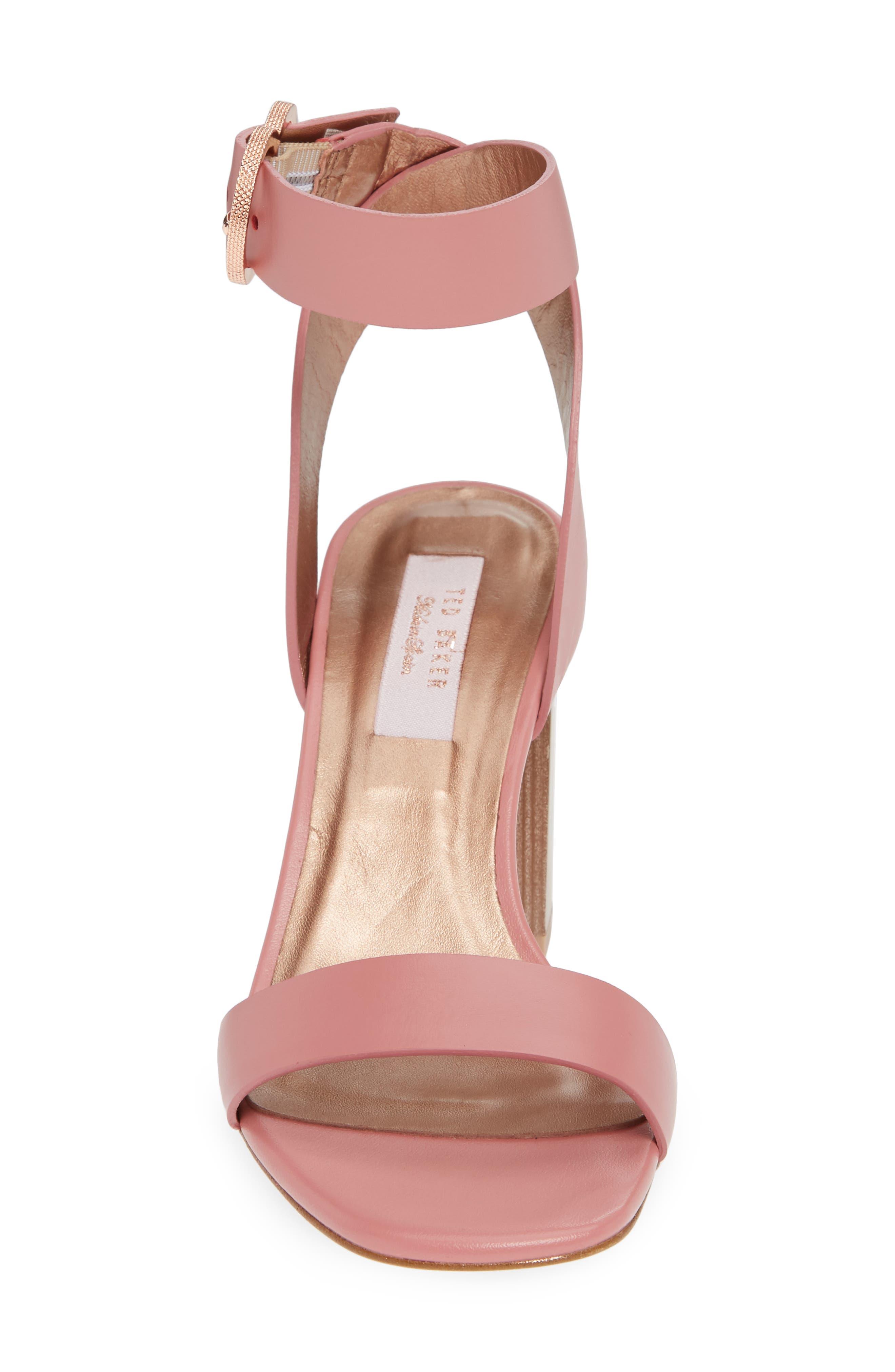 Vallama Block Heel Sandal,                             Alternate thumbnail 4, color,                             PINK LEATHER