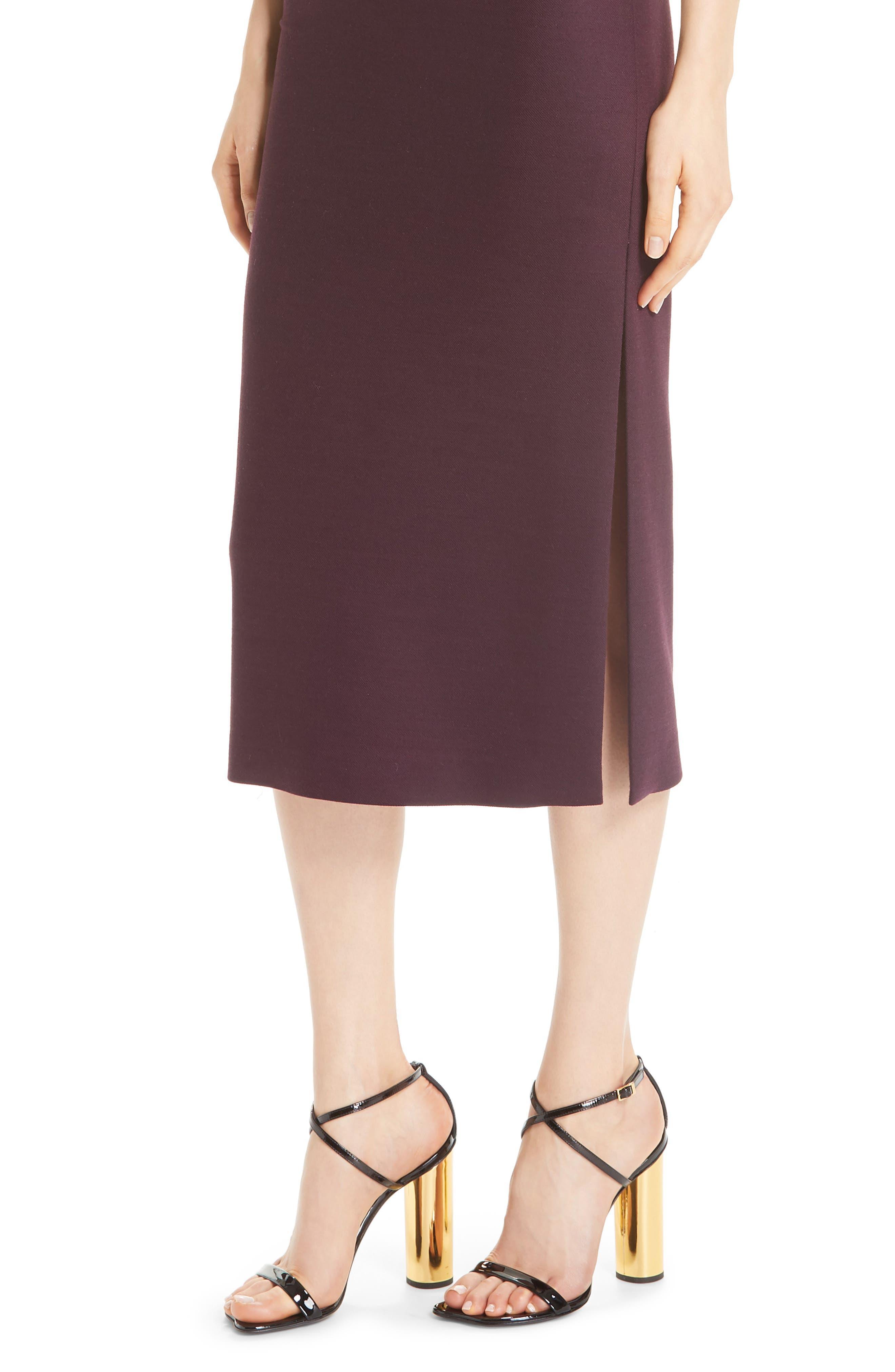 ADAM LIPPES,                             Double Face Wool Sheath Dress,                             Alternate thumbnail 4, color,                             BURGUNDY/ PINK