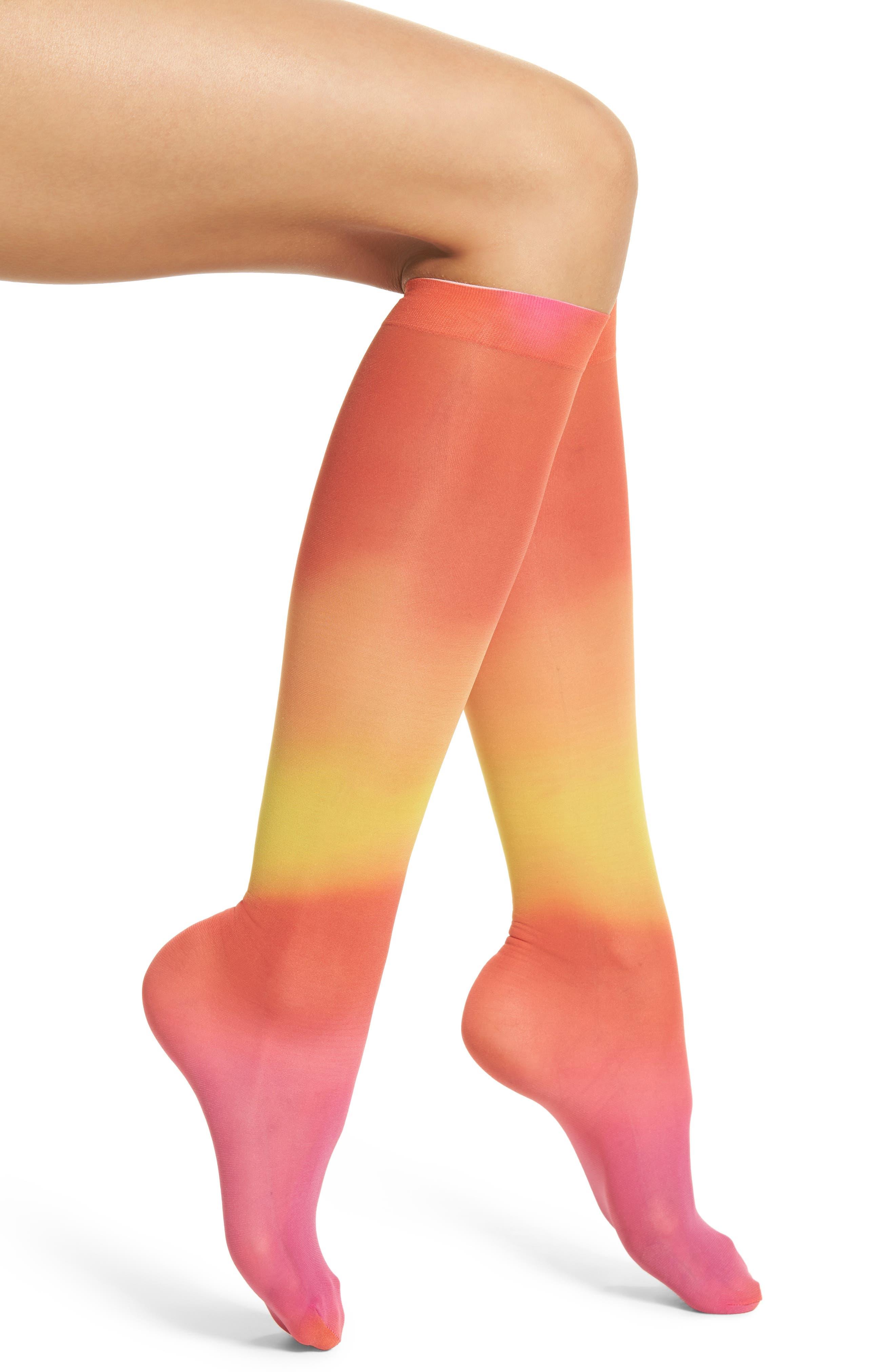 Mia Print Knee High Socks,                             Main thumbnail 1, color,                             700