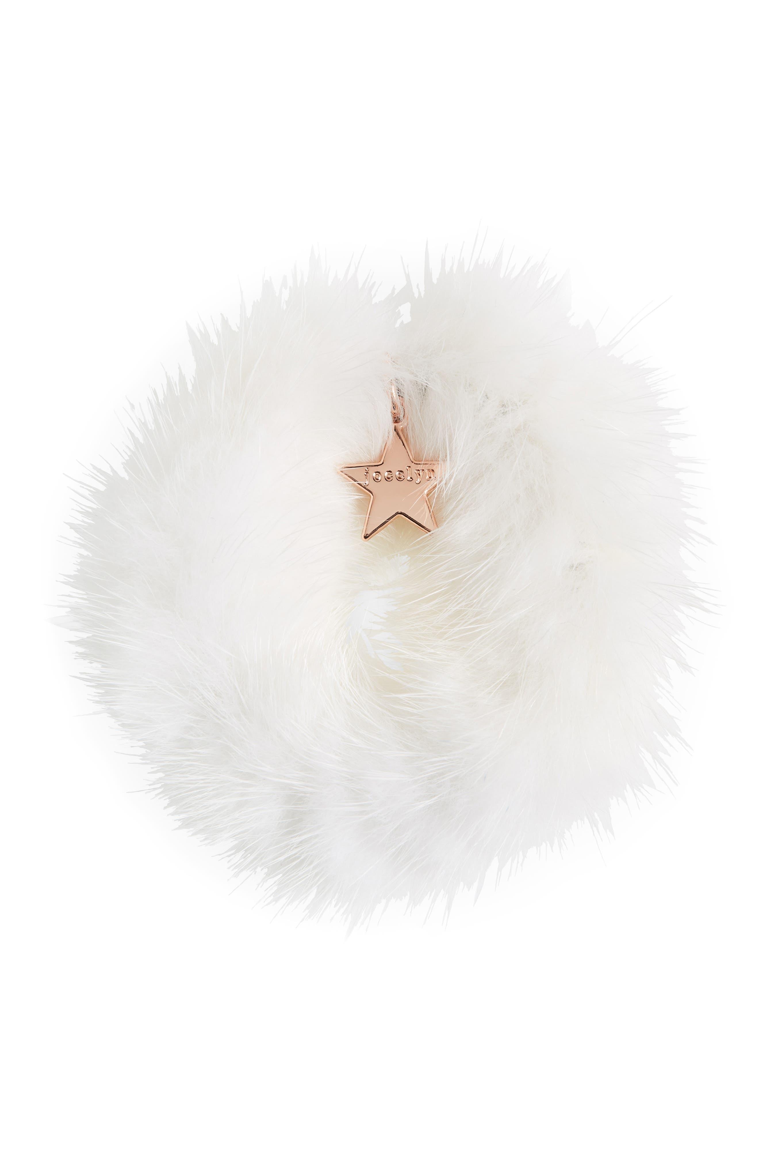 JOCELYN Genuine Mink Fur Hair Elastic in White