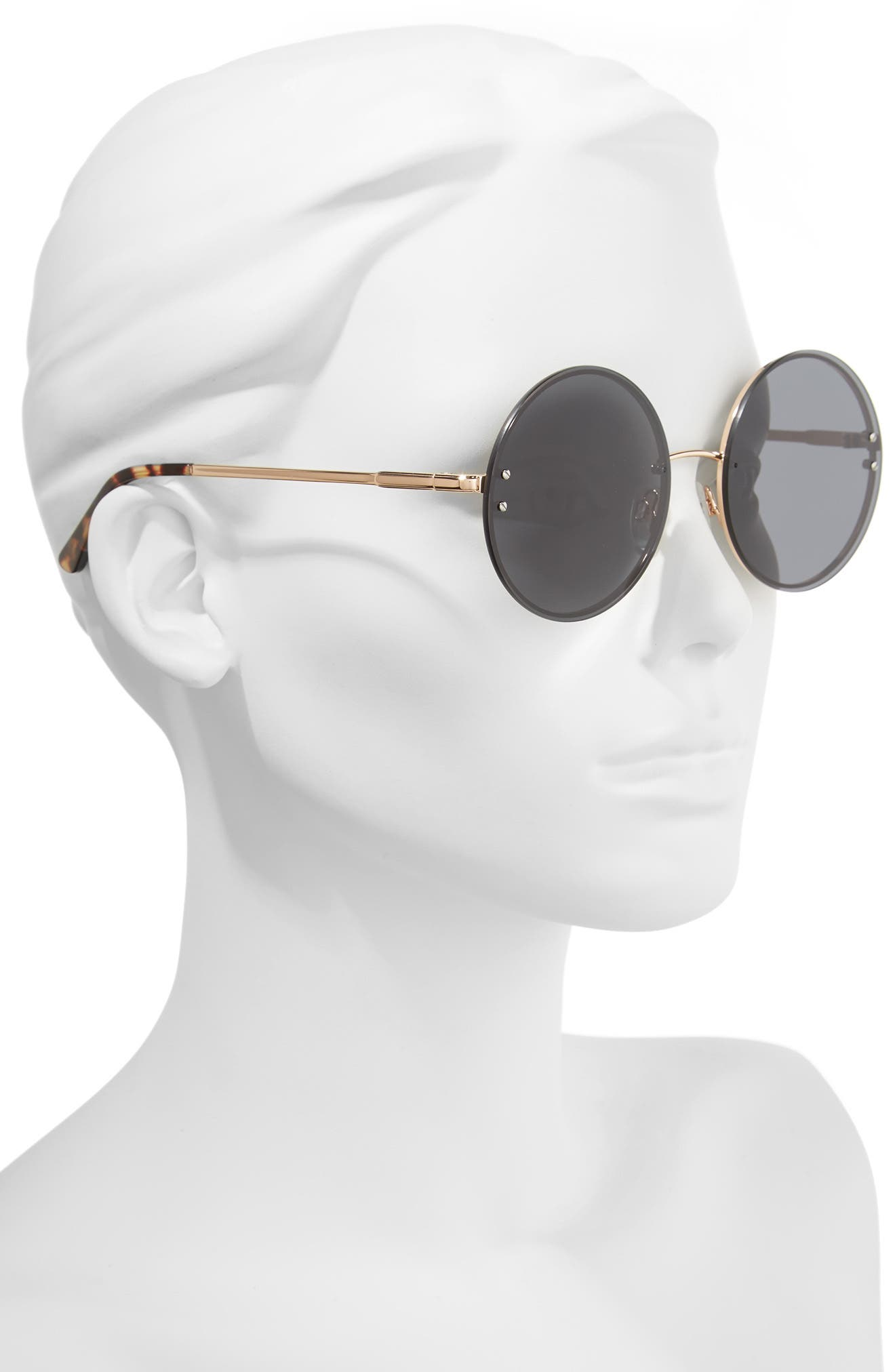 Ariana 58mm Round Sunglasses,                             Alternate thumbnail 2, color,                             SOLID SMOKE