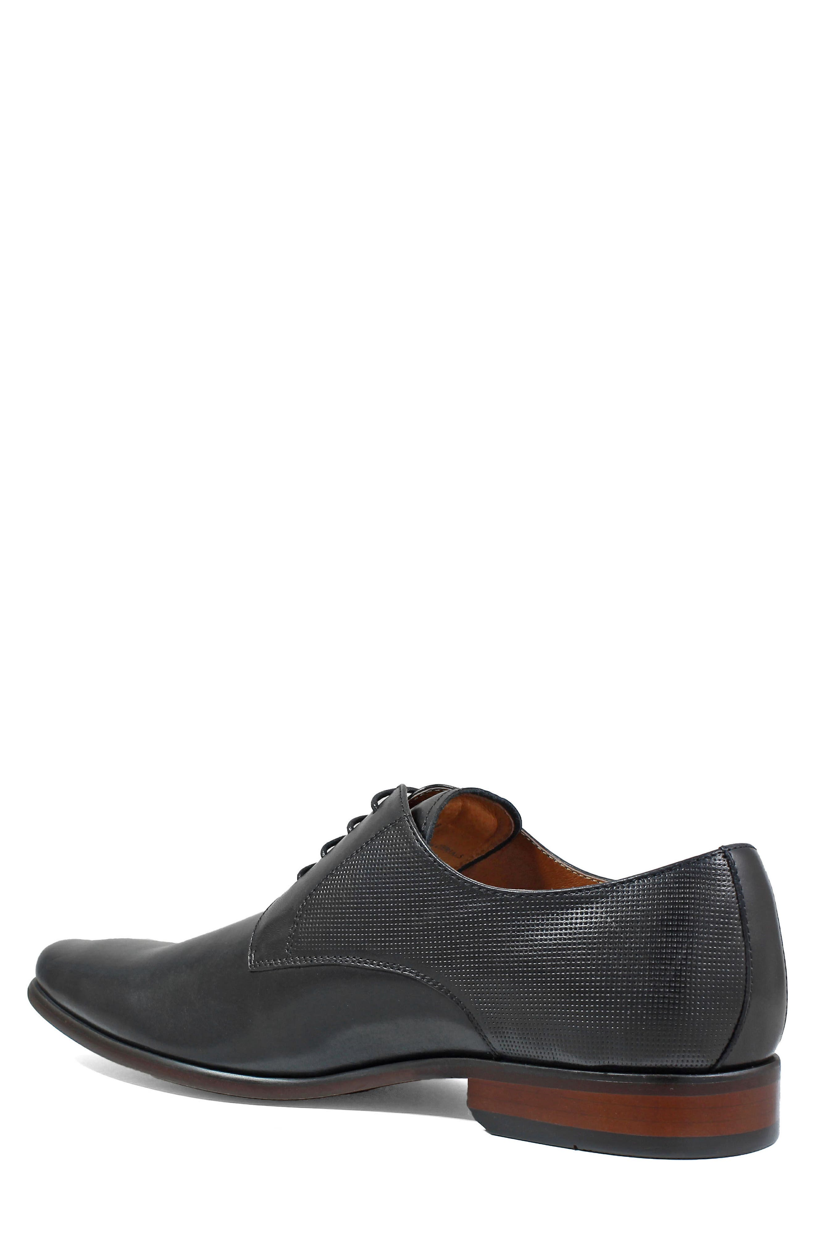 Postino Textured Plain Toe Derby,                             Alternate thumbnail 2, color,                             BLACK LEATHER