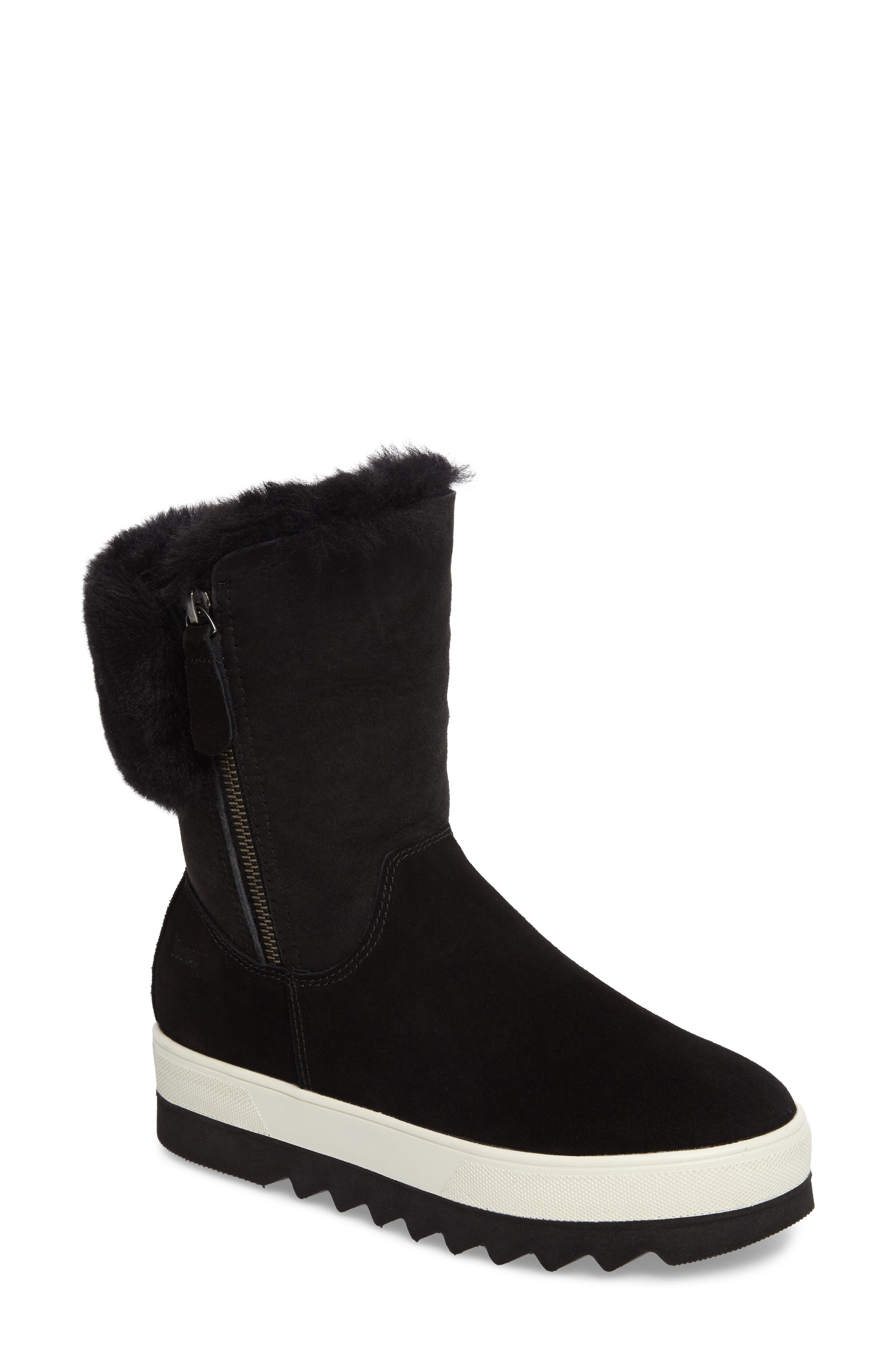 Vera Genuine Shearling Boot,                         Main,                         color, BLACK