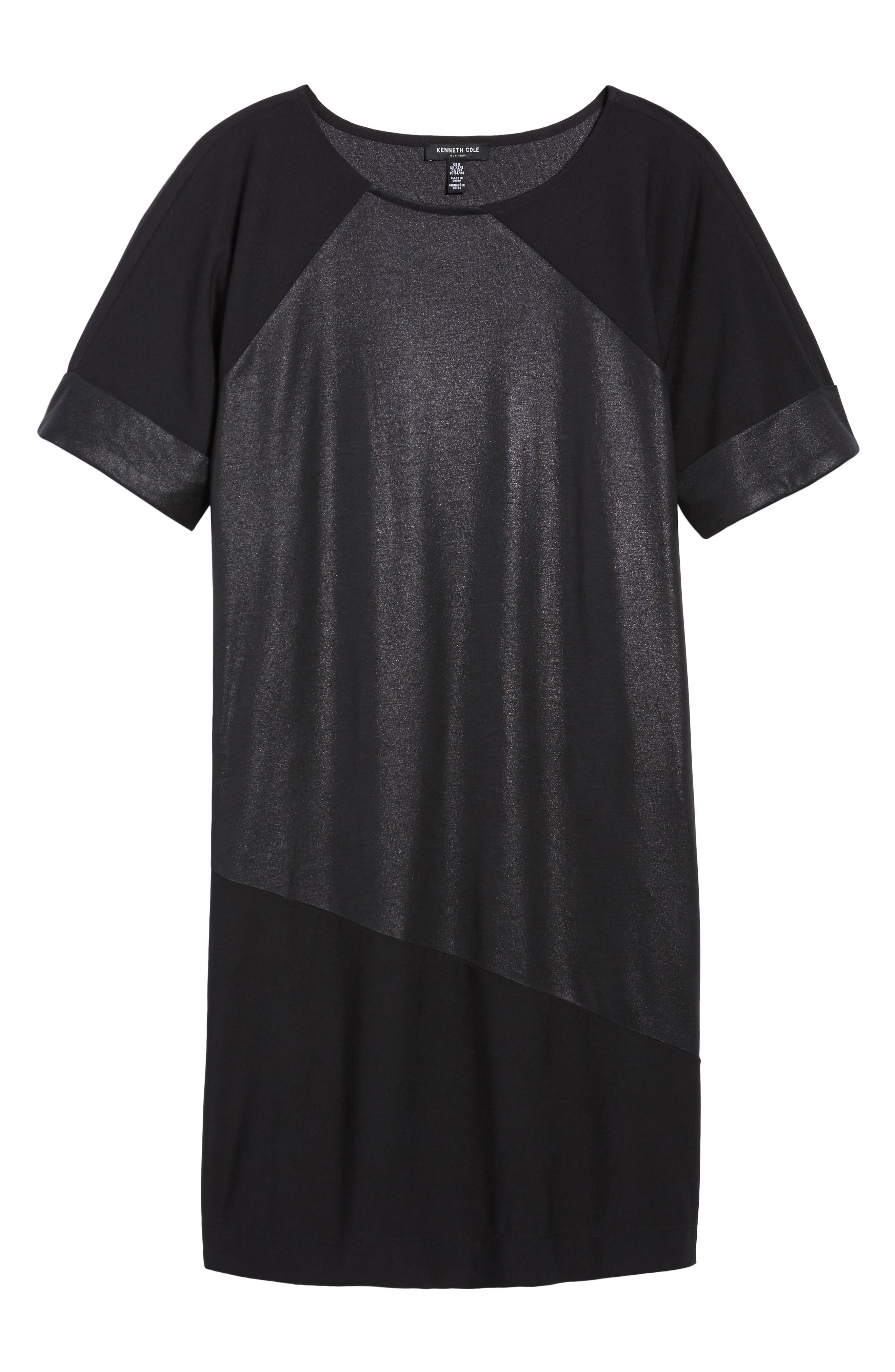 Glitter Block T-Shirt Dress,                             Alternate thumbnail 7, color,                             BLACK