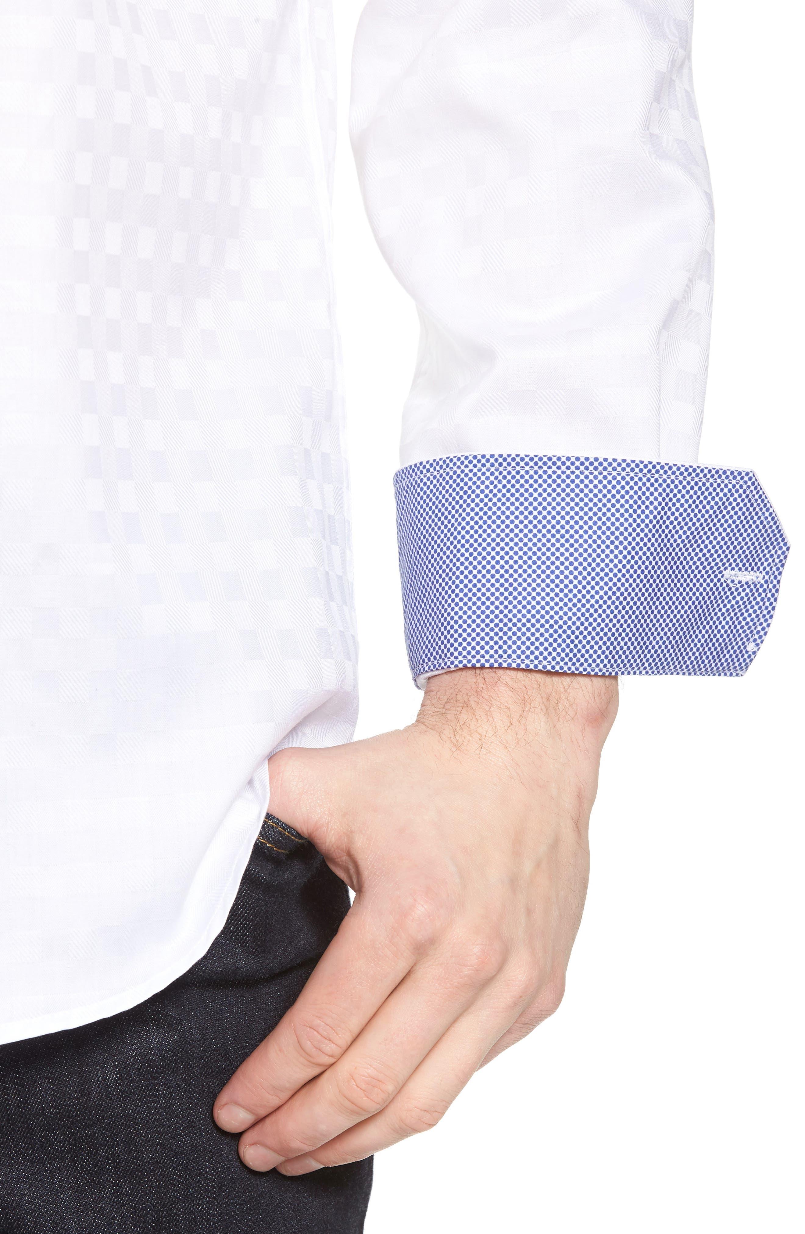 Shaped Fit Tonal Check Sport Shirt,                             Alternate thumbnail 4, color,                             WHITE