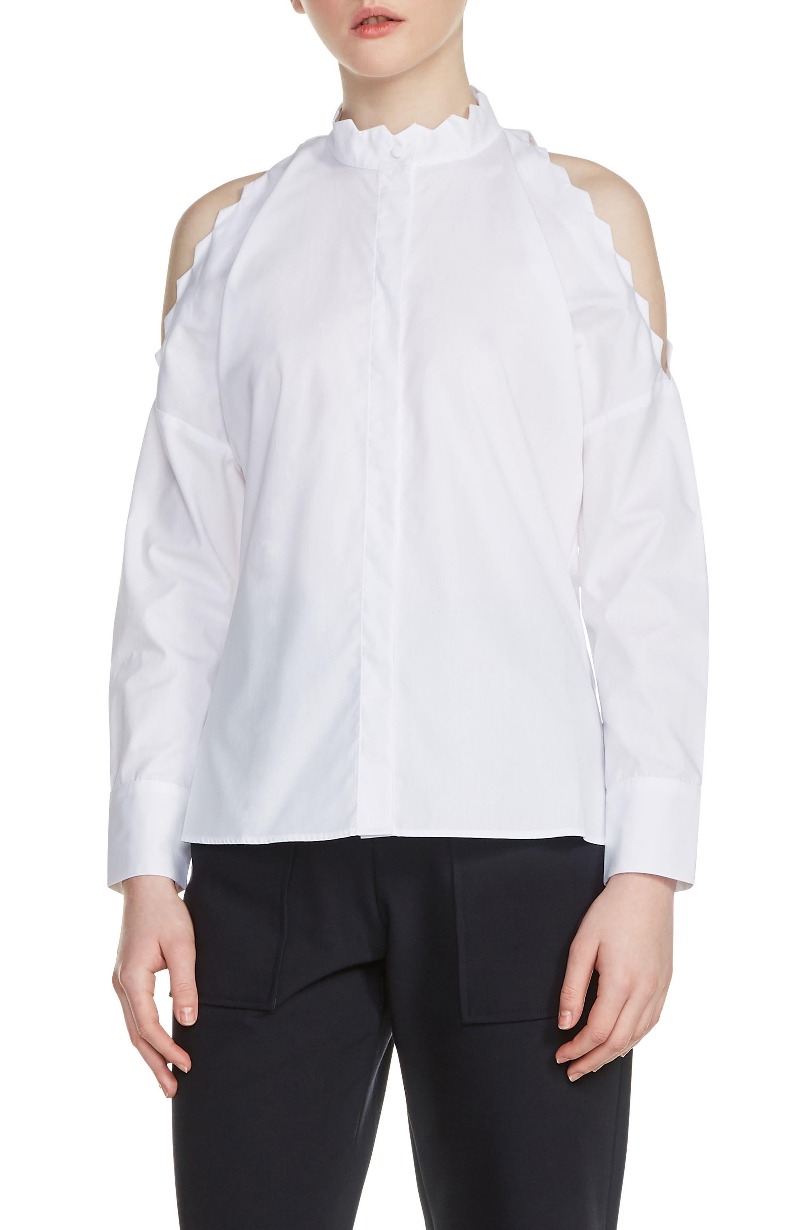 Cold Shoulder Cotton Blouse,                             Main thumbnail 1, color,                             100