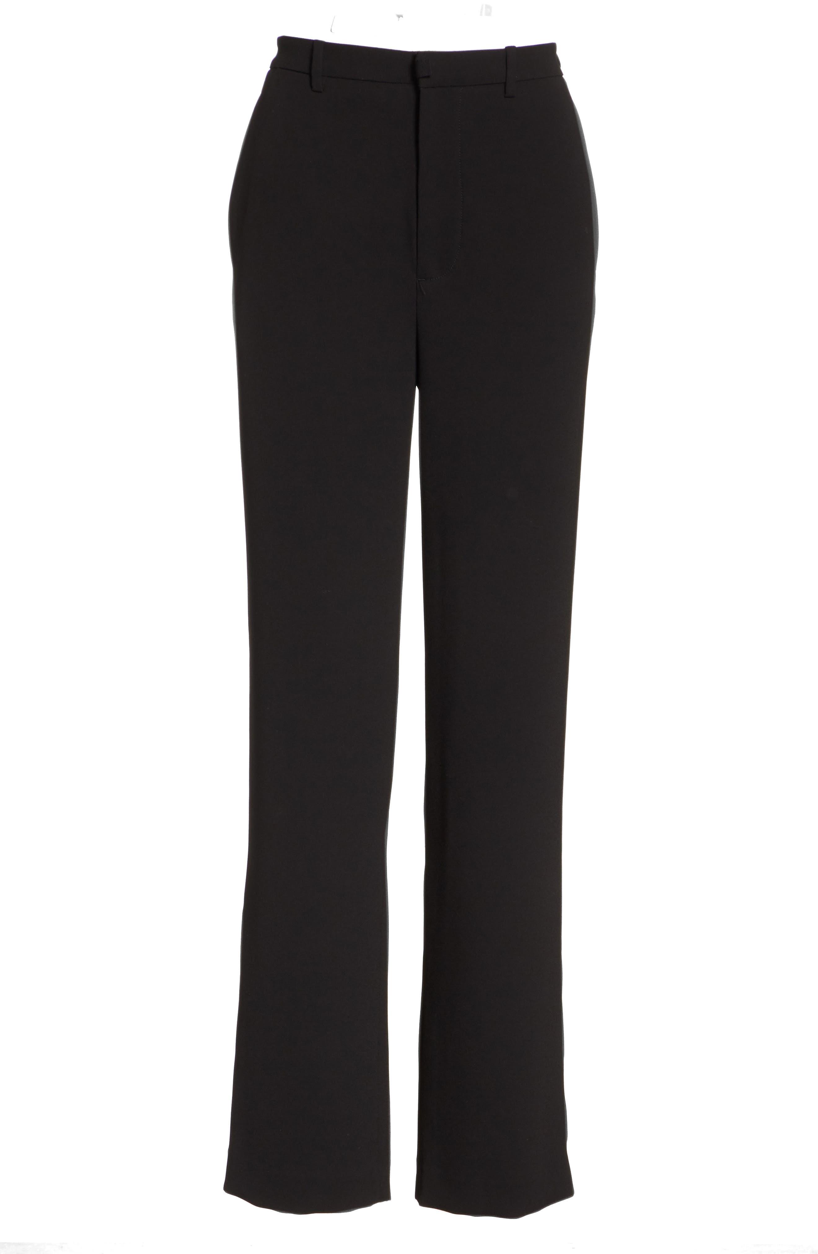 High Waist Straight Leg Pants,                             Alternate thumbnail 6, color,                             BLACK