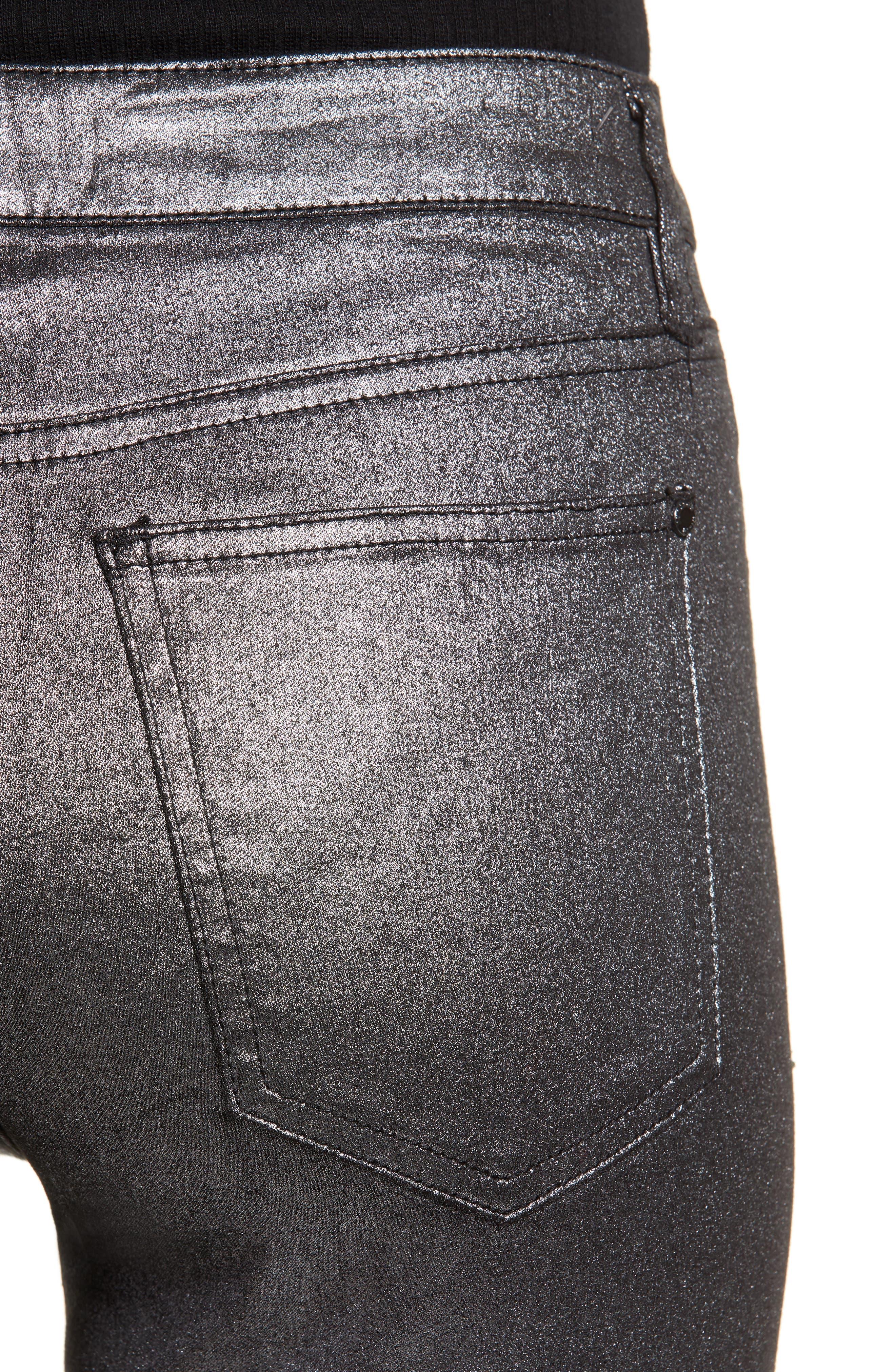Metallic Coated Skinny Jeans,                             Alternate thumbnail 4, color,                             001