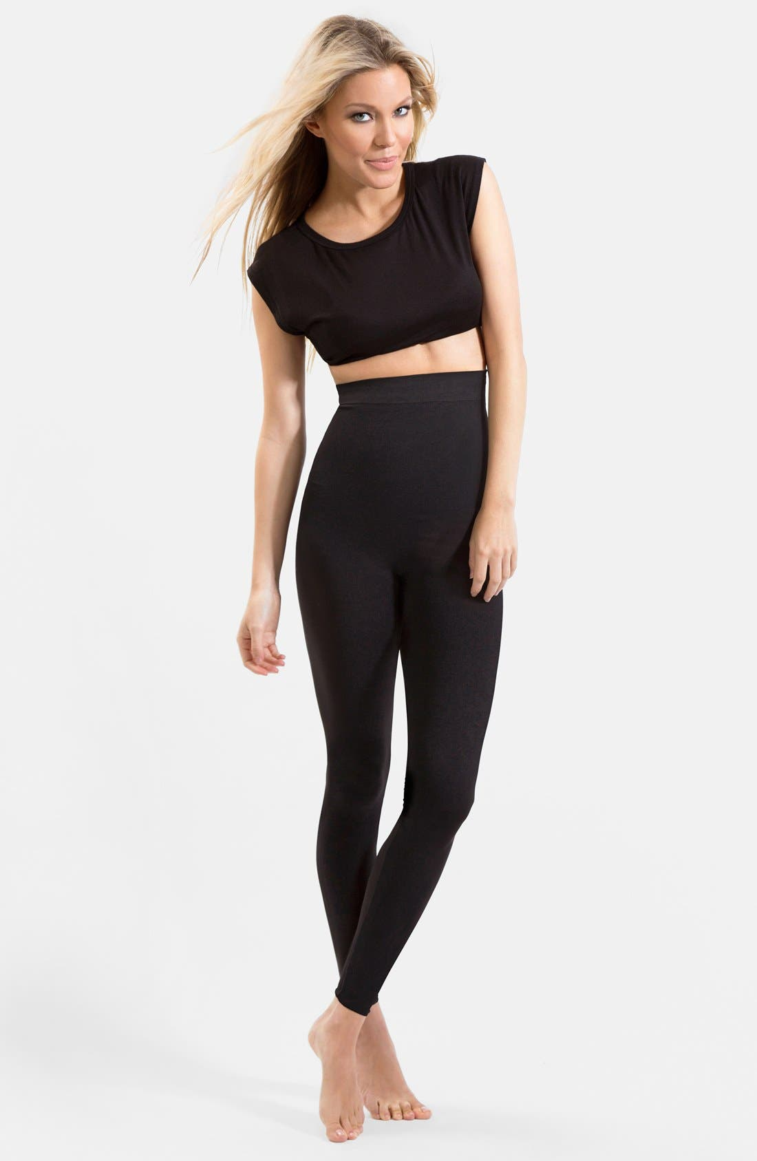 'High Performance' High Waisted Maternity/Postpartum Support Leggings,                             Alternate thumbnail 4, color,                             001