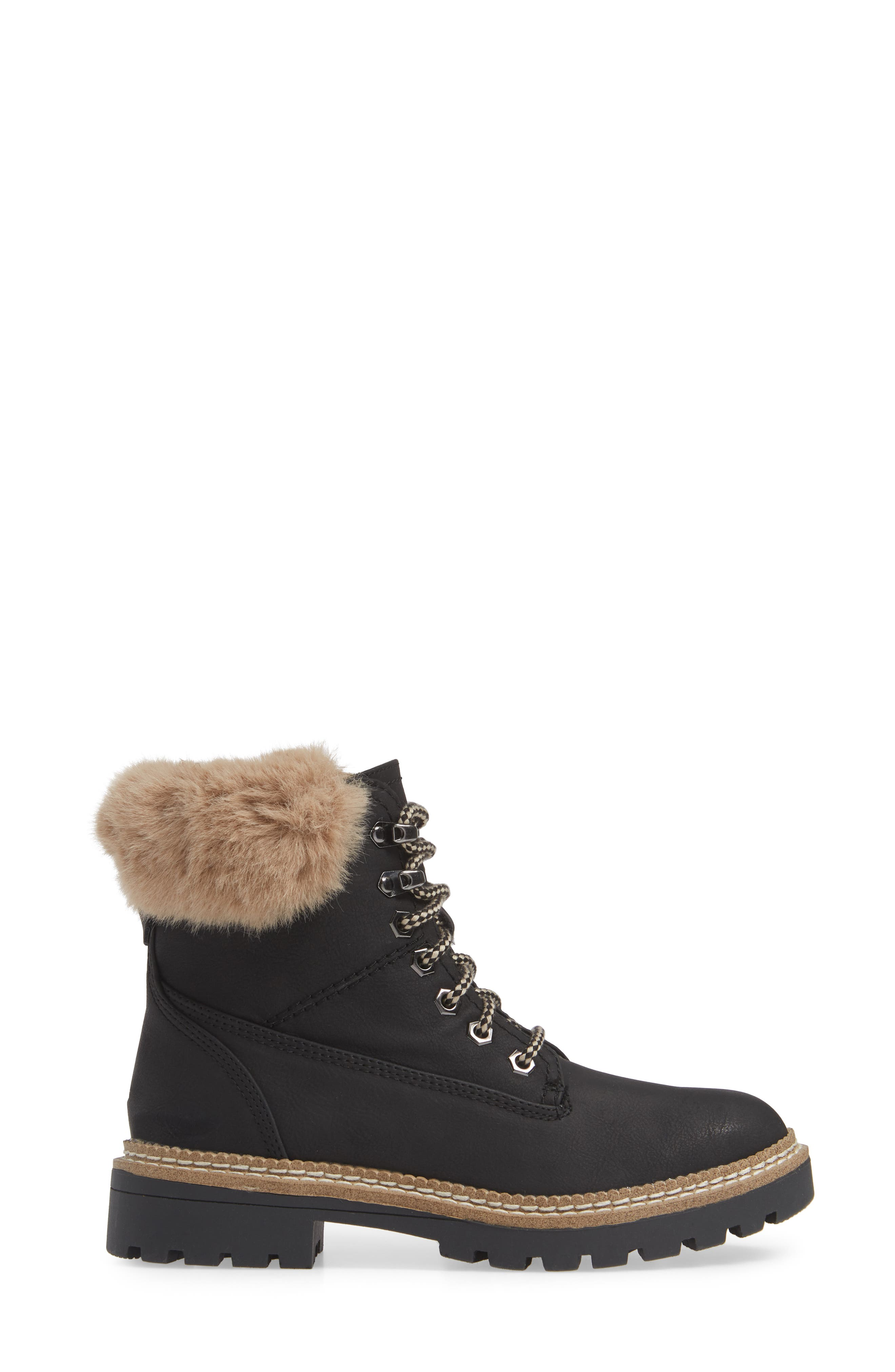 Alaska Lace-Up Bootie with Faux Fur Cuff,                             Alternate thumbnail 3, color,                             BLACK