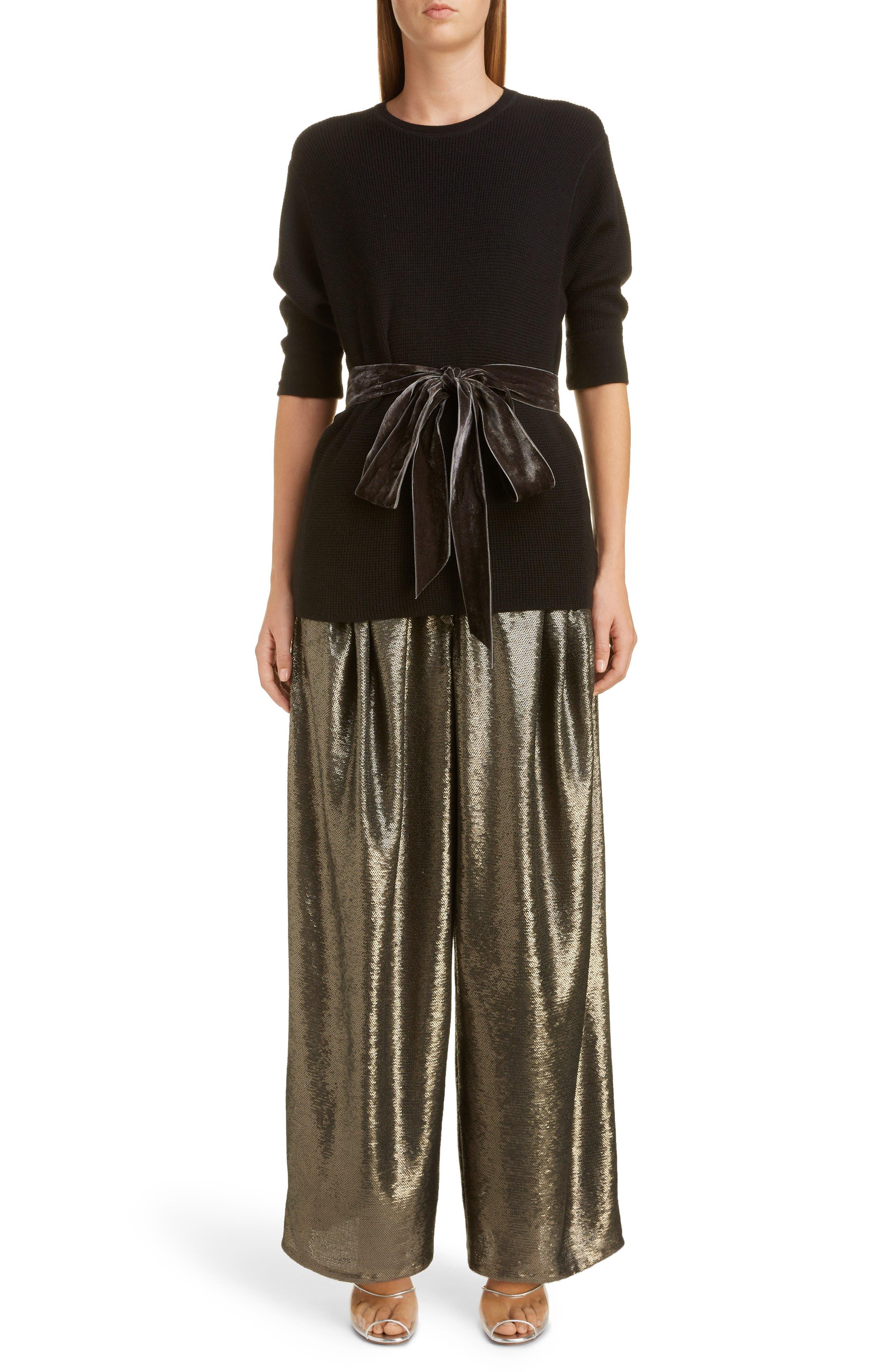 High Waist Wide Leg Sequin Pants,                             Alternate thumbnail 6, color,                             GREY