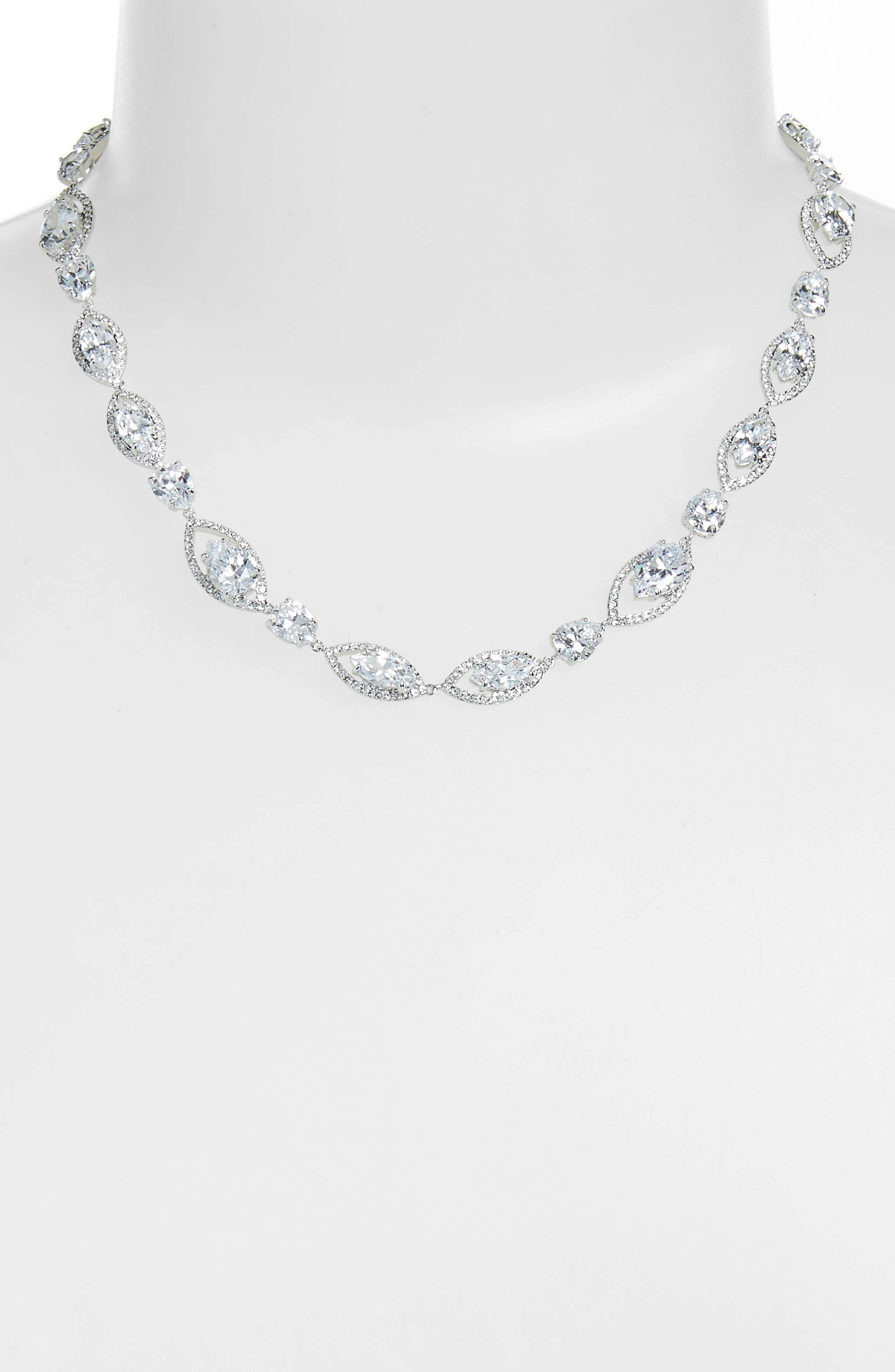 Navette Cubic Zirconia Collar Necklace,                             Alternate thumbnail 2, color,                             CLEAR- SILVER