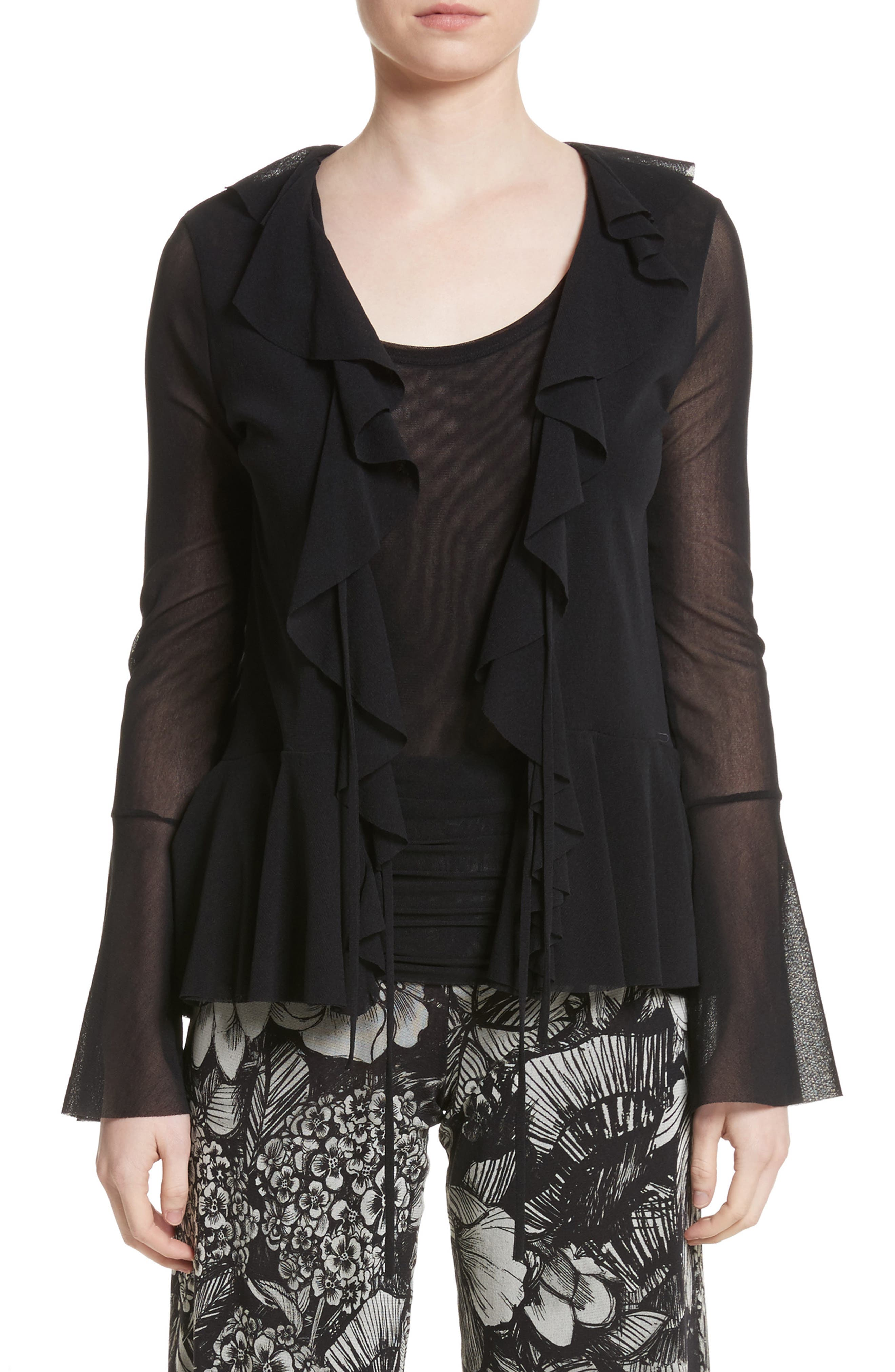 Ruffle Tulle Tie Front Cardigan,                             Main thumbnail 1, color,                             001