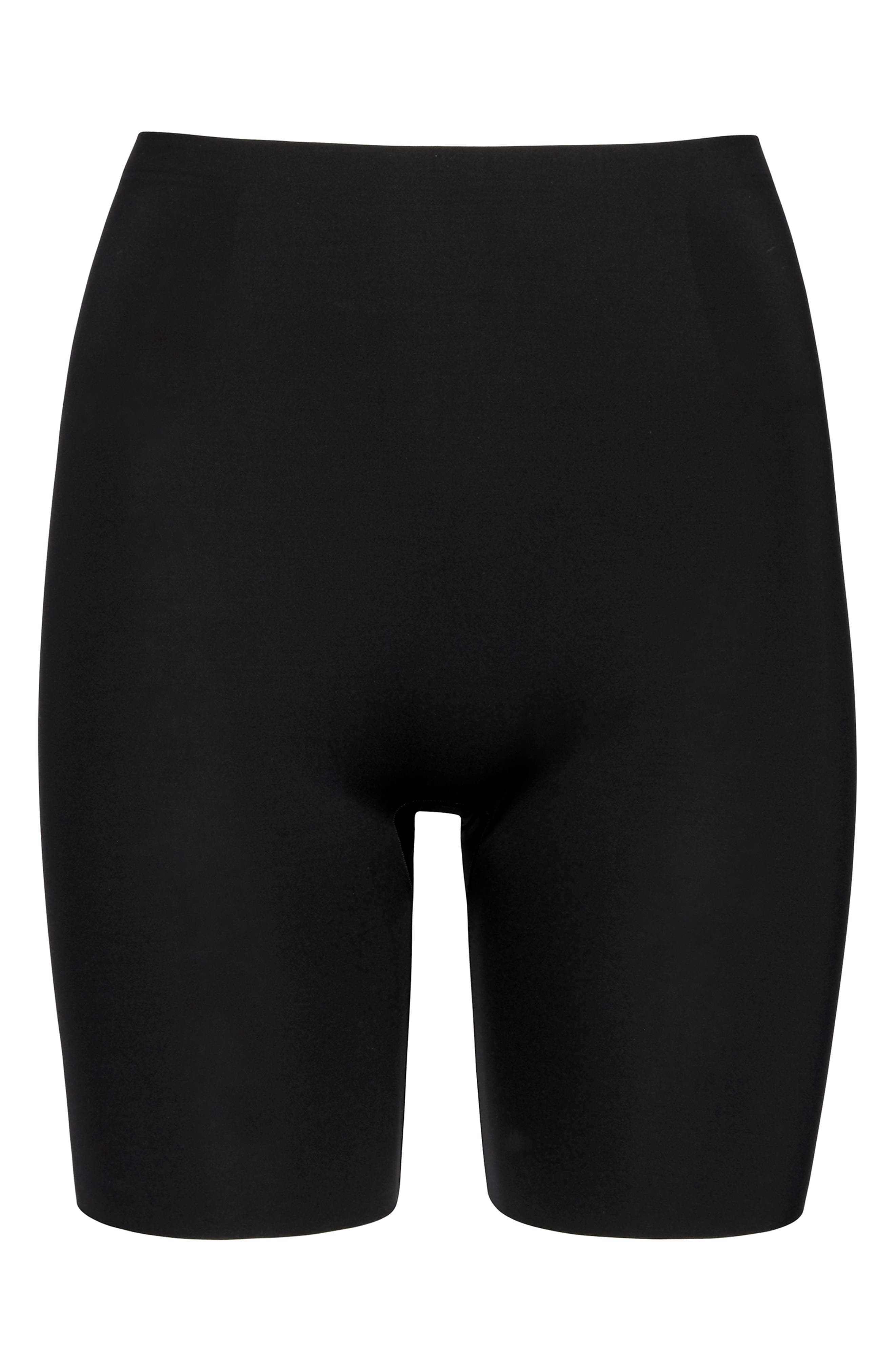 Thinstincts Mid Thigh Shorts,                             Main thumbnail 1, color,                             VERY BLACK