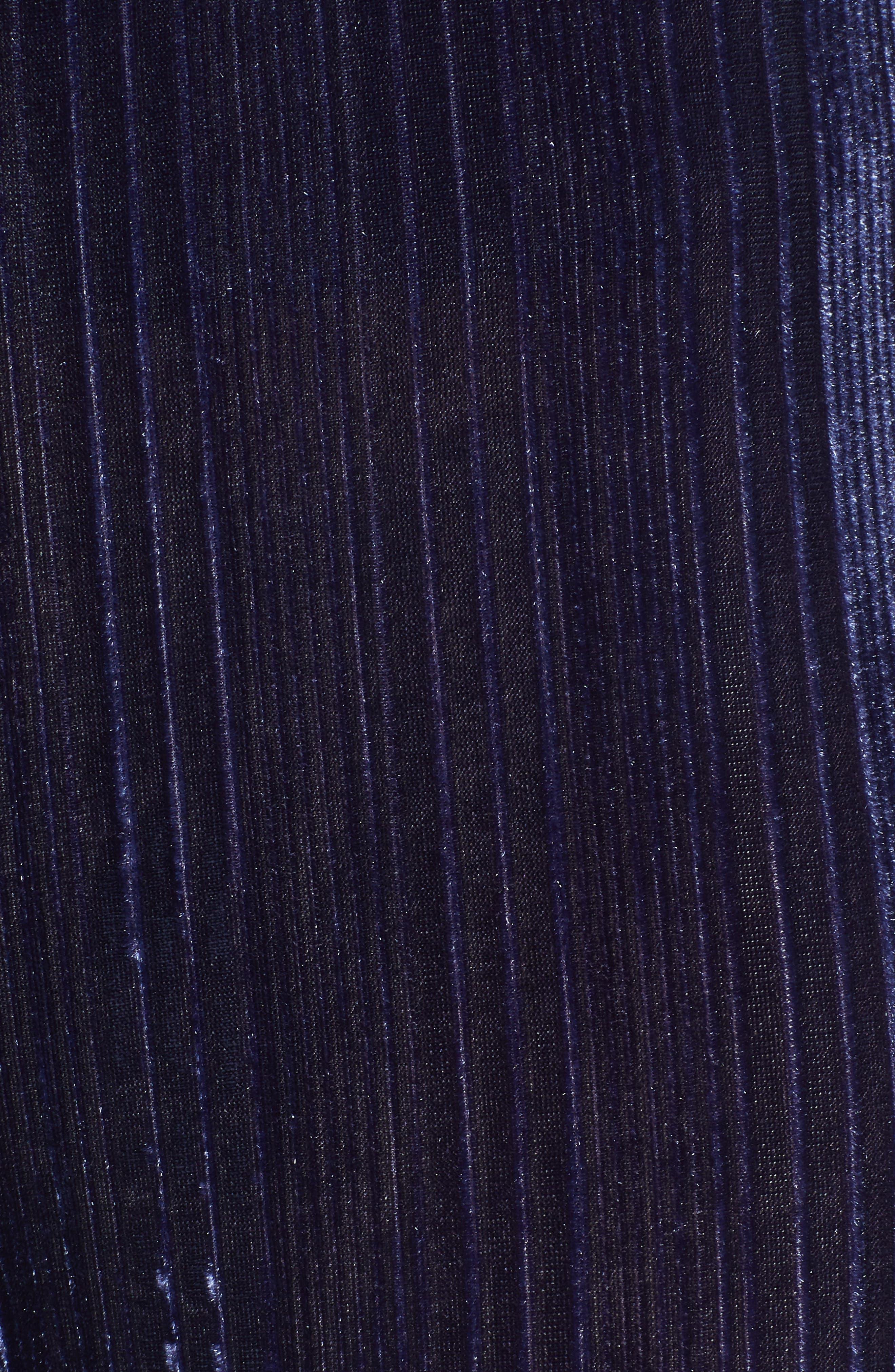 Velour Wide Leg Crop Pants,                             Alternate thumbnail 5, color,                             NAVY MARITIME