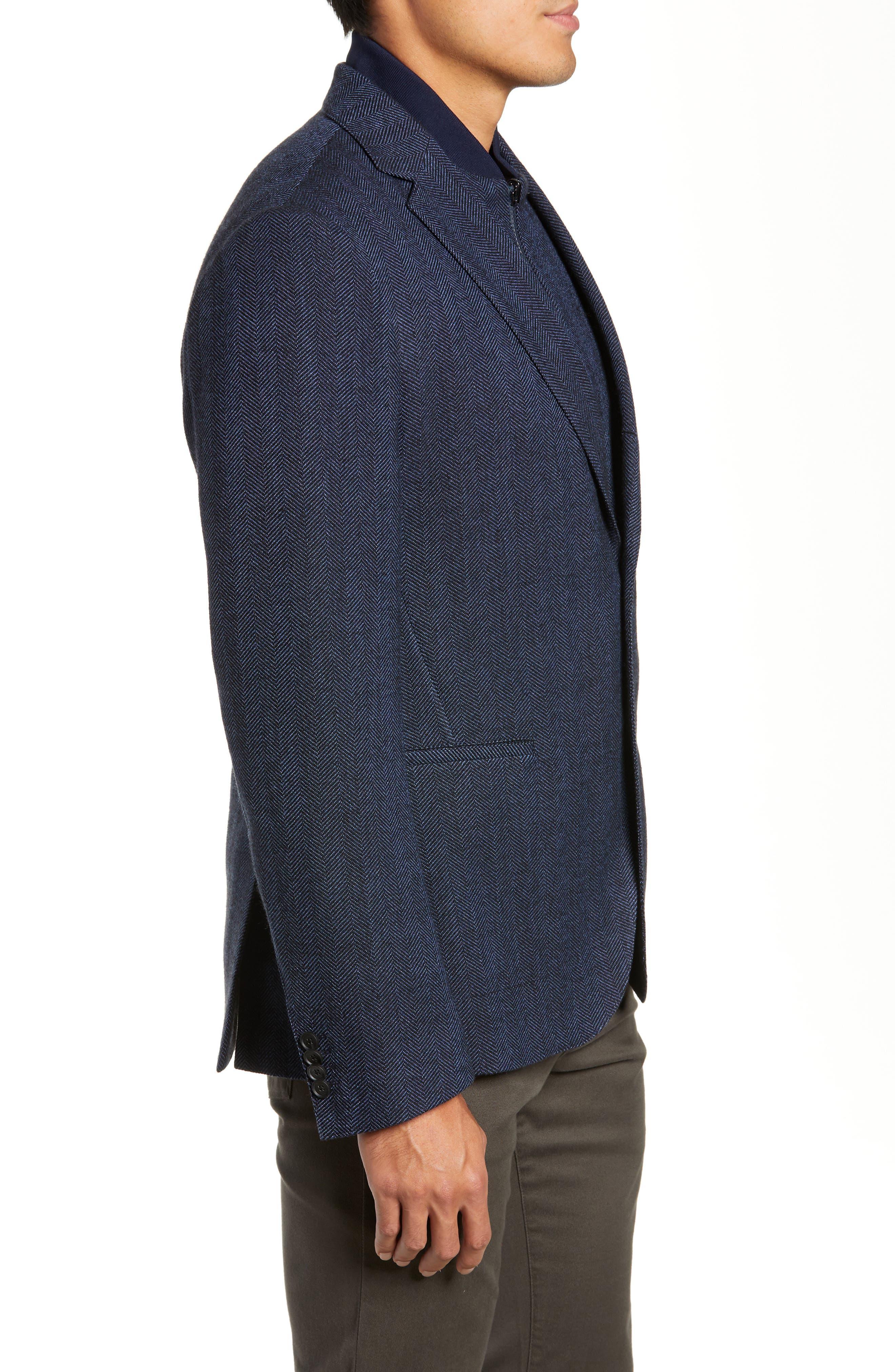 Nanon Trim Fit Herringbone Wool & Cotton Sport Coat,                             Alternate thumbnail 3, color,                             OPEN BLUE