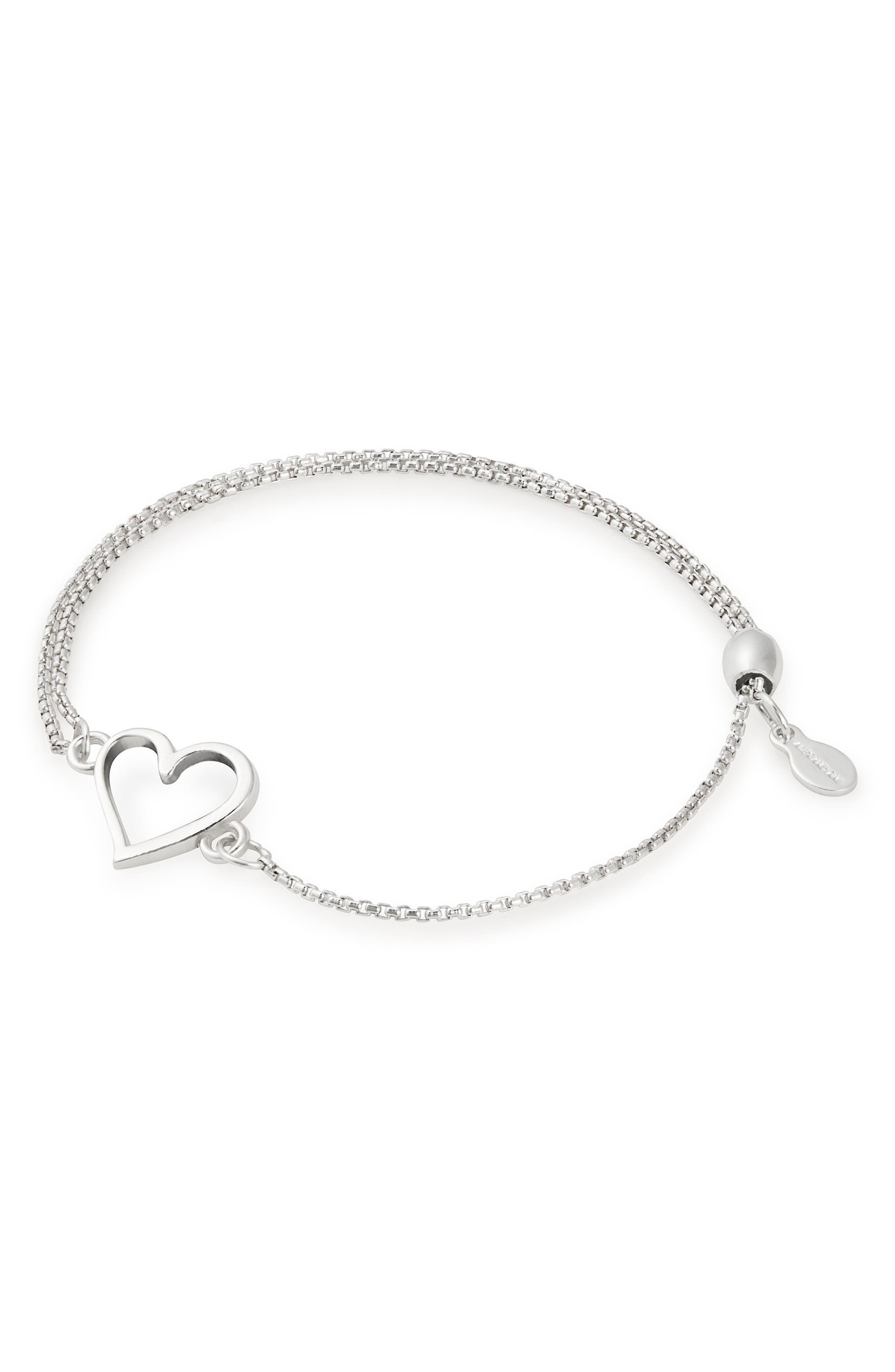Heart Pull Chain Bracelet,                             Main thumbnail 1, color,                             SILVER