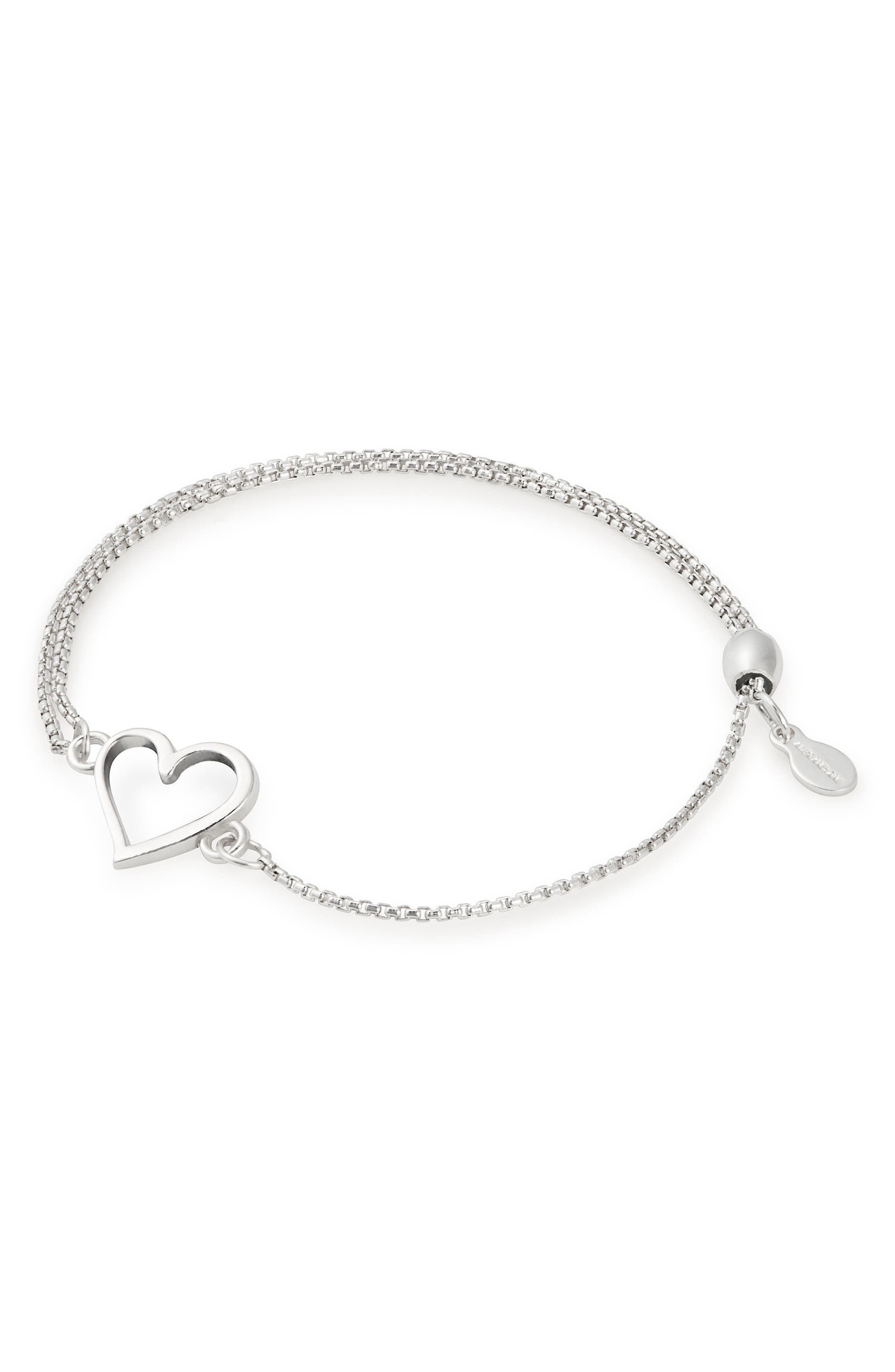 Heart Pull Chain Bracelet,                         Main,                         color, SILVER