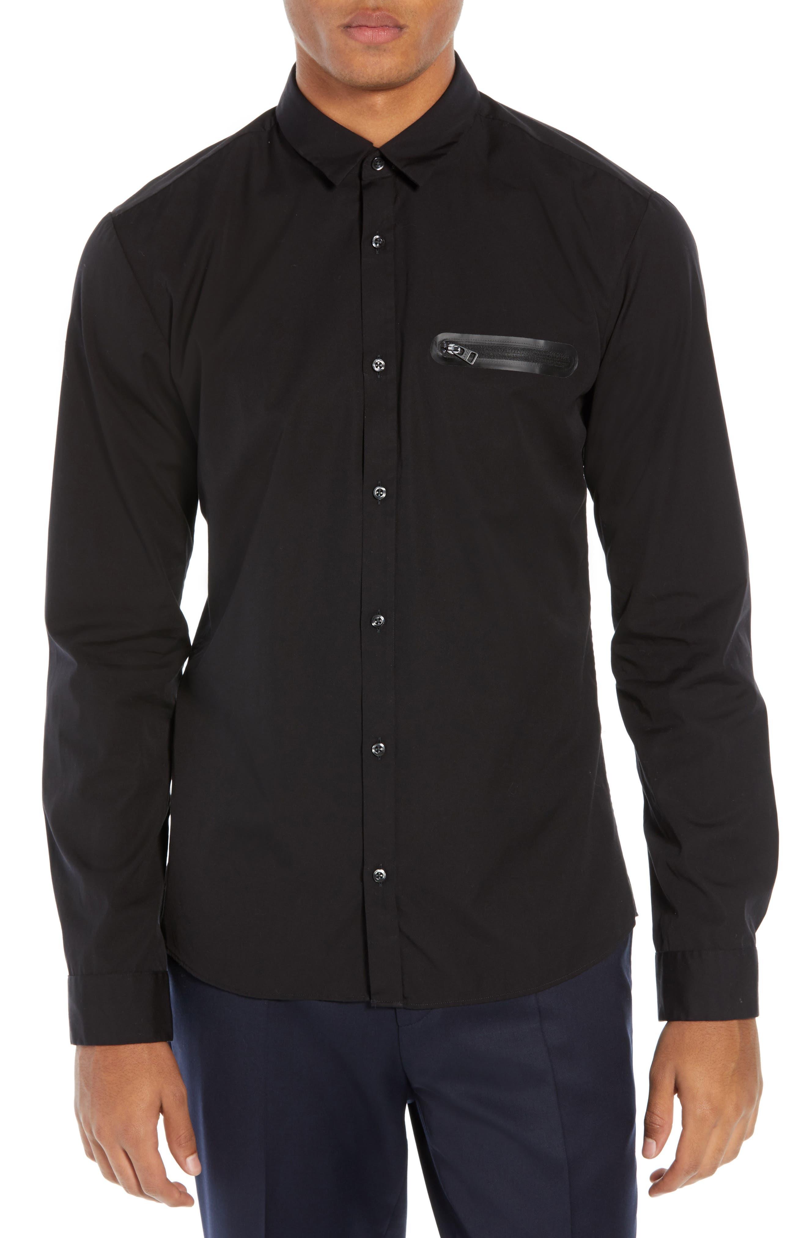 Ero Extra Slim Fit Zip Pocket Sport Shirt,                         Main,                         color, BLACK
