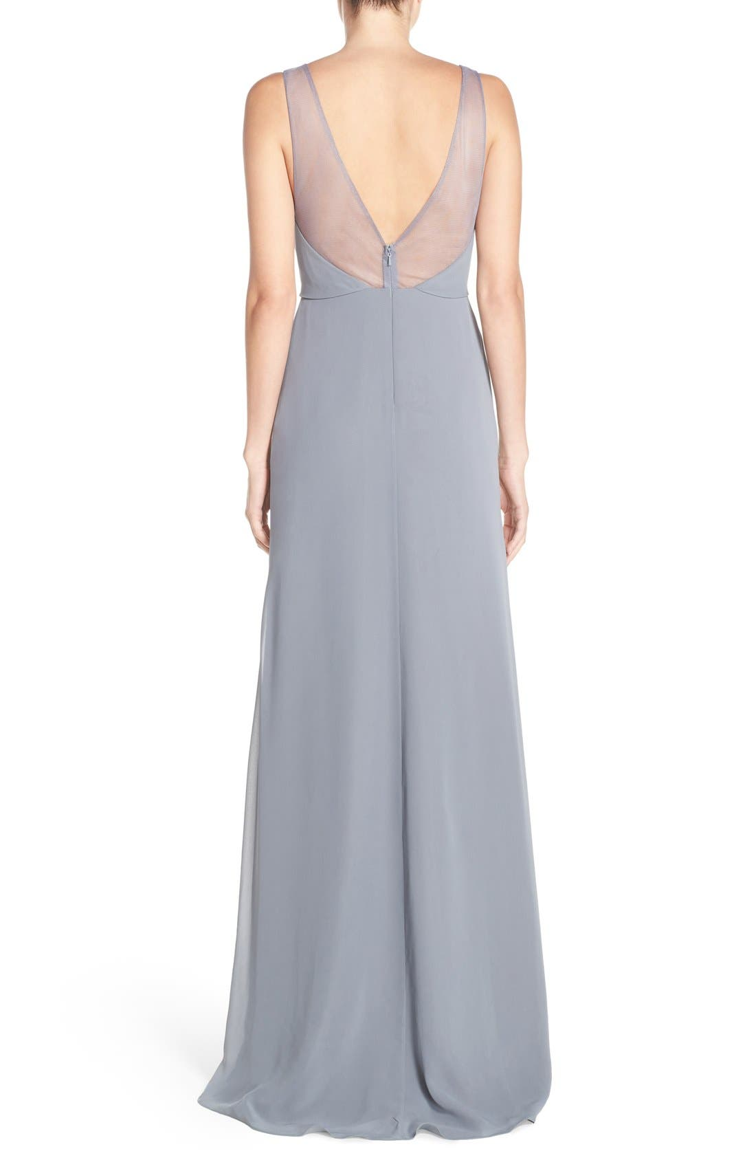 Deep V-Neck Chiffon & Tulle Gown,                             Alternate thumbnail 7, color,