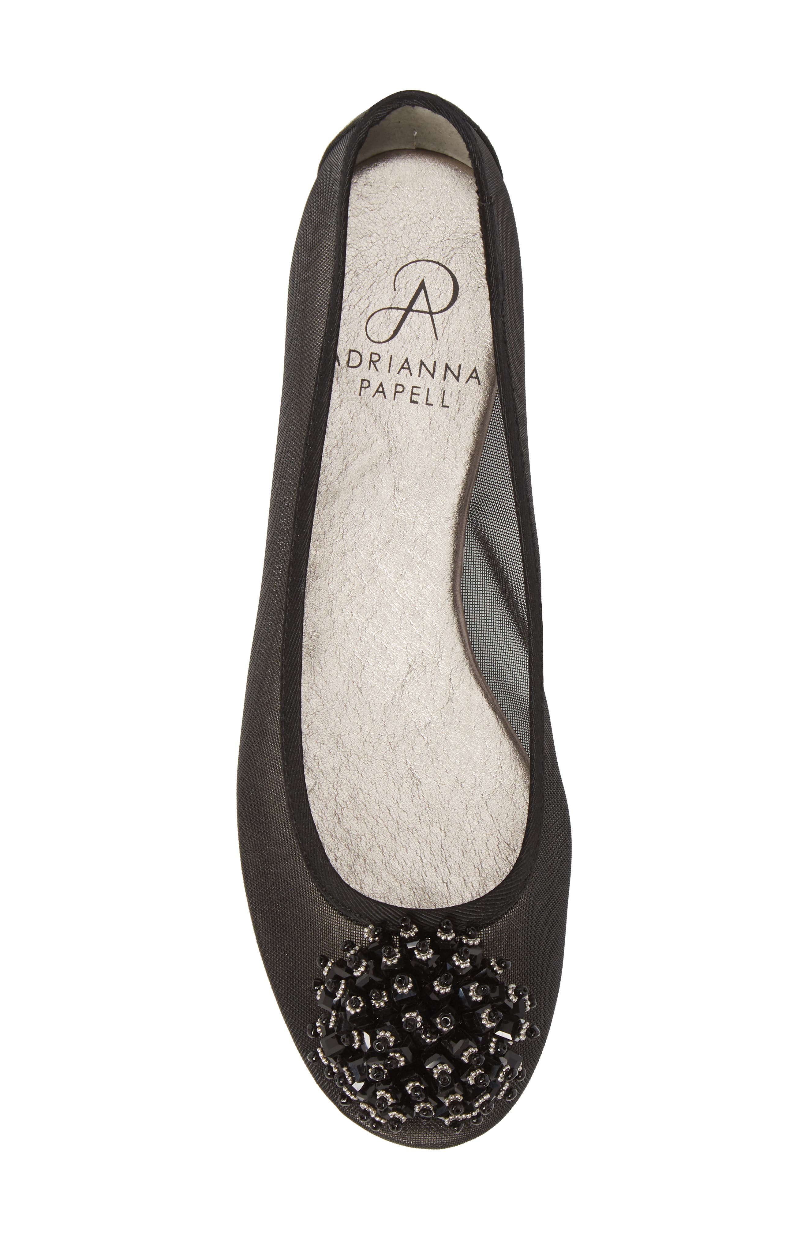 ADRIANNA PAPELL,                             Stevie Embellished Flat,                             Alternate thumbnail 5, color,                             001