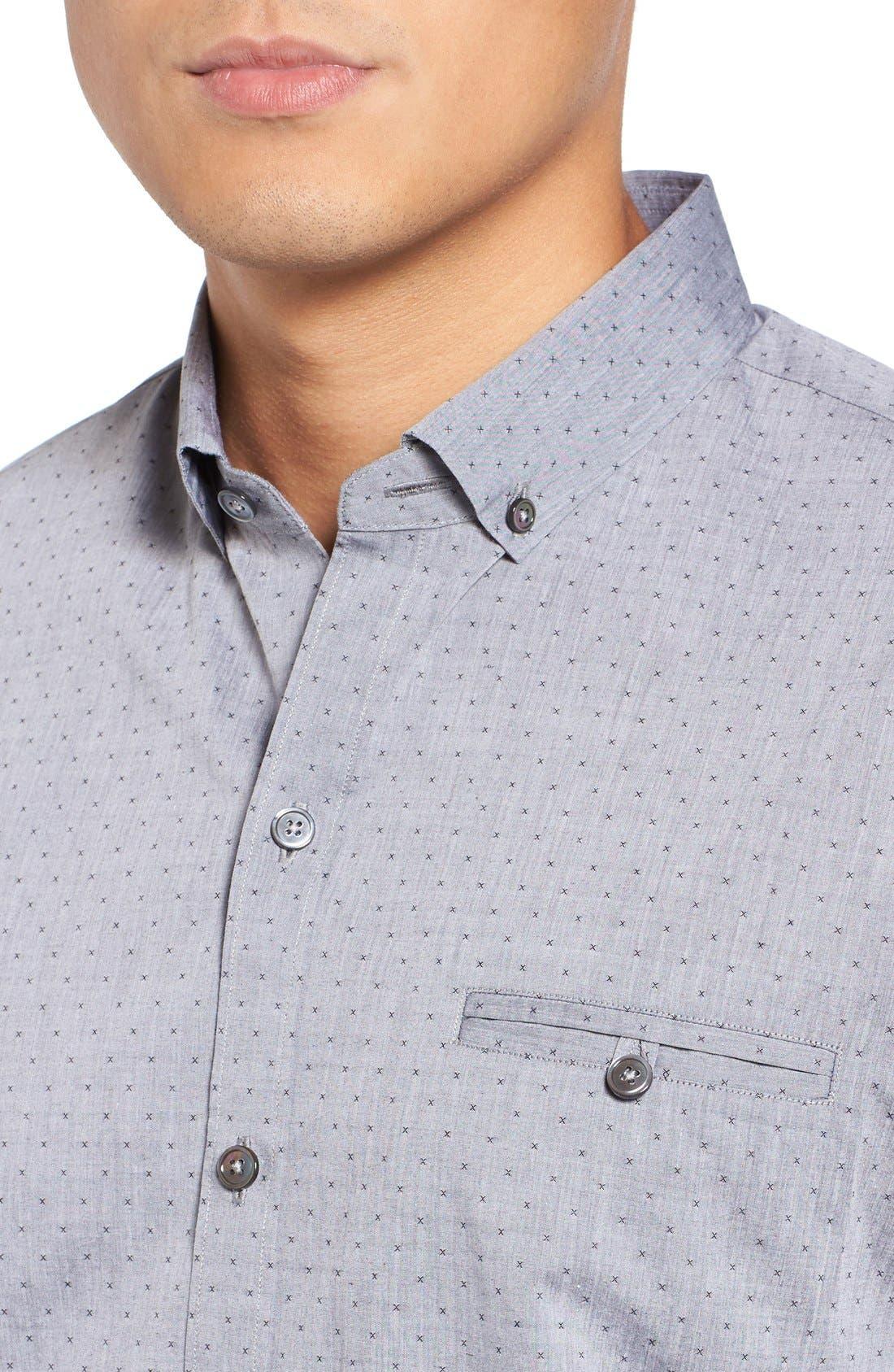 Yama Trim Fit Geometric Sport Shirt,                             Alternate thumbnail 4, color,