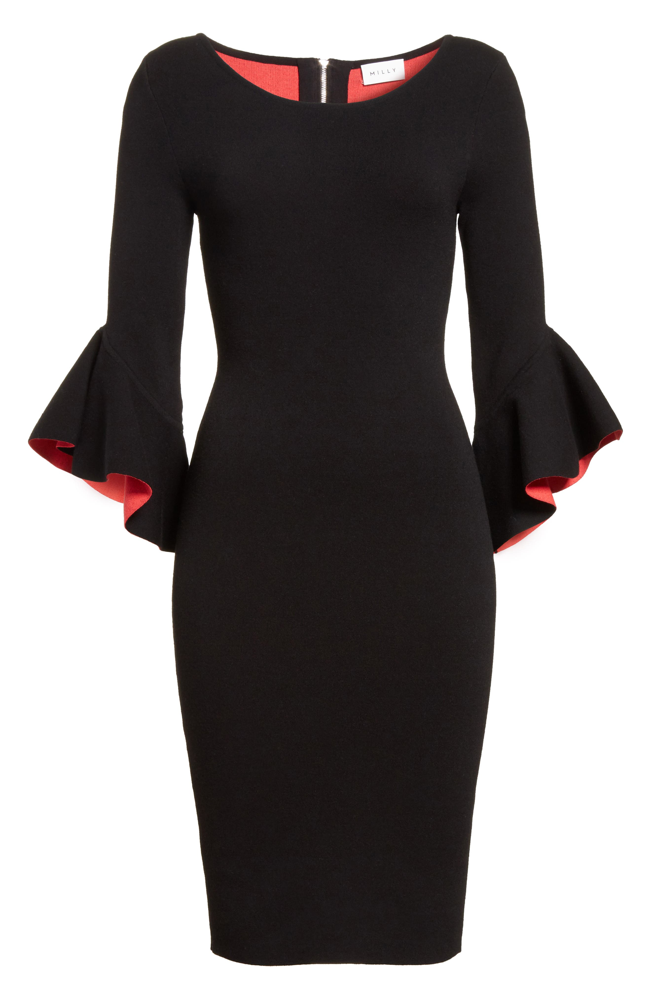 Contrast Lined Bell Sleeve Sheath Dress,                             Alternate thumbnail 6, color,