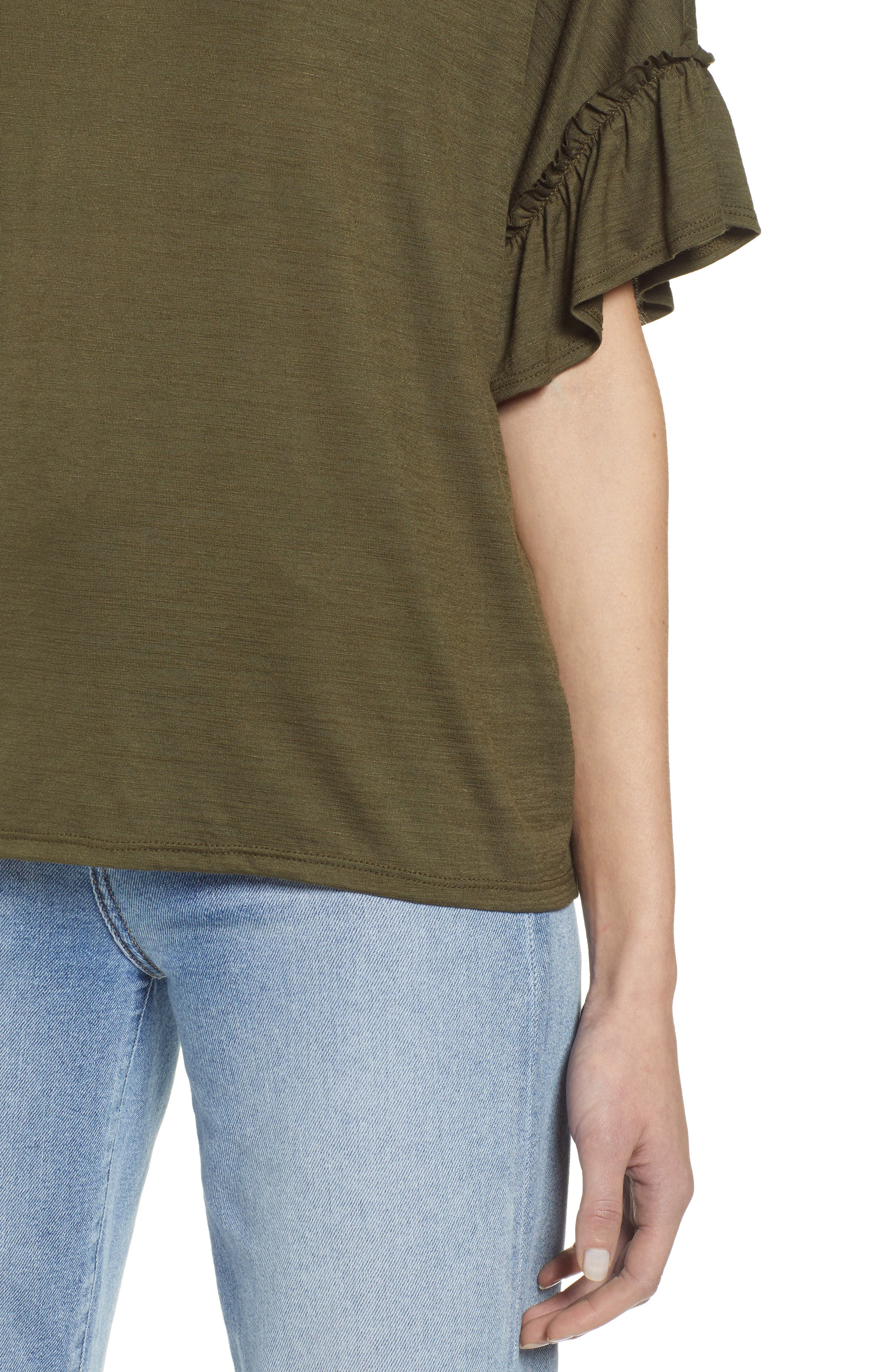 Ruffle Sleeve Top,                             Alternate thumbnail 4, color,                             OLIVE