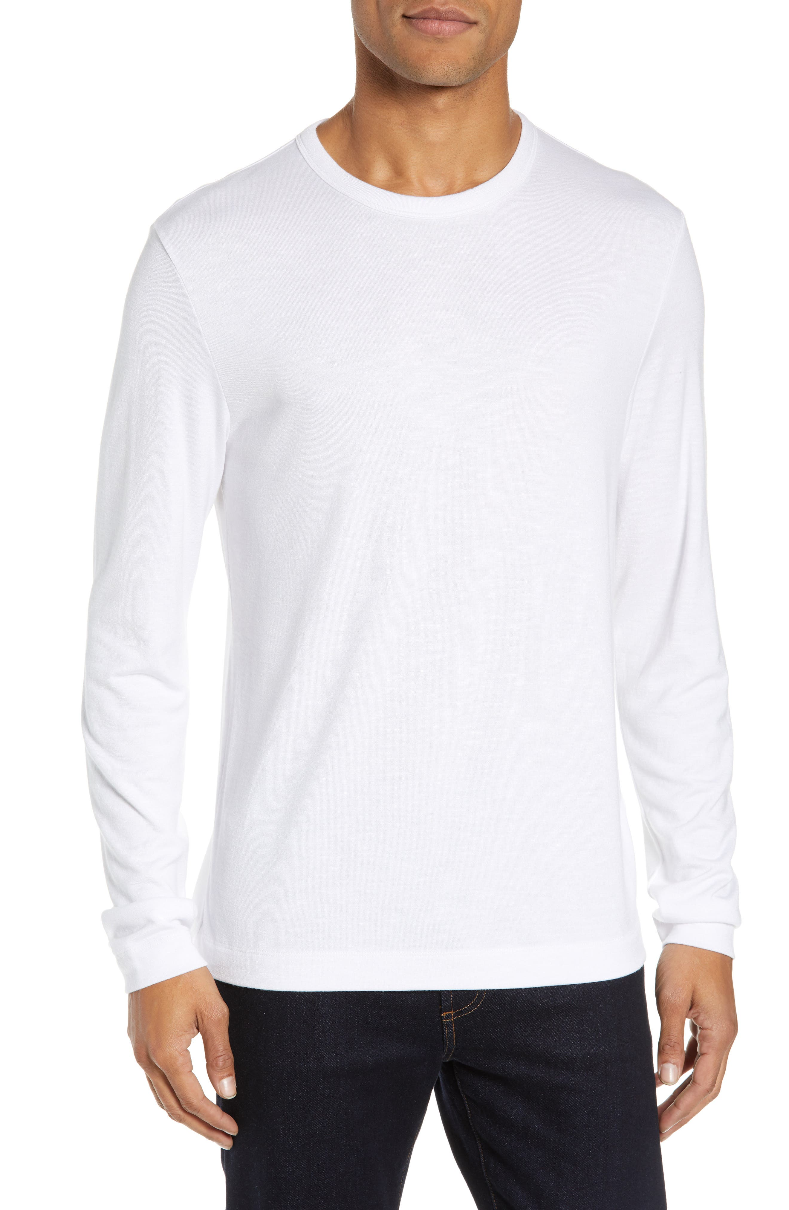 Gaskell Regular Fit Long Sleeve T-Shirt,                         Main,                         color, WHITE