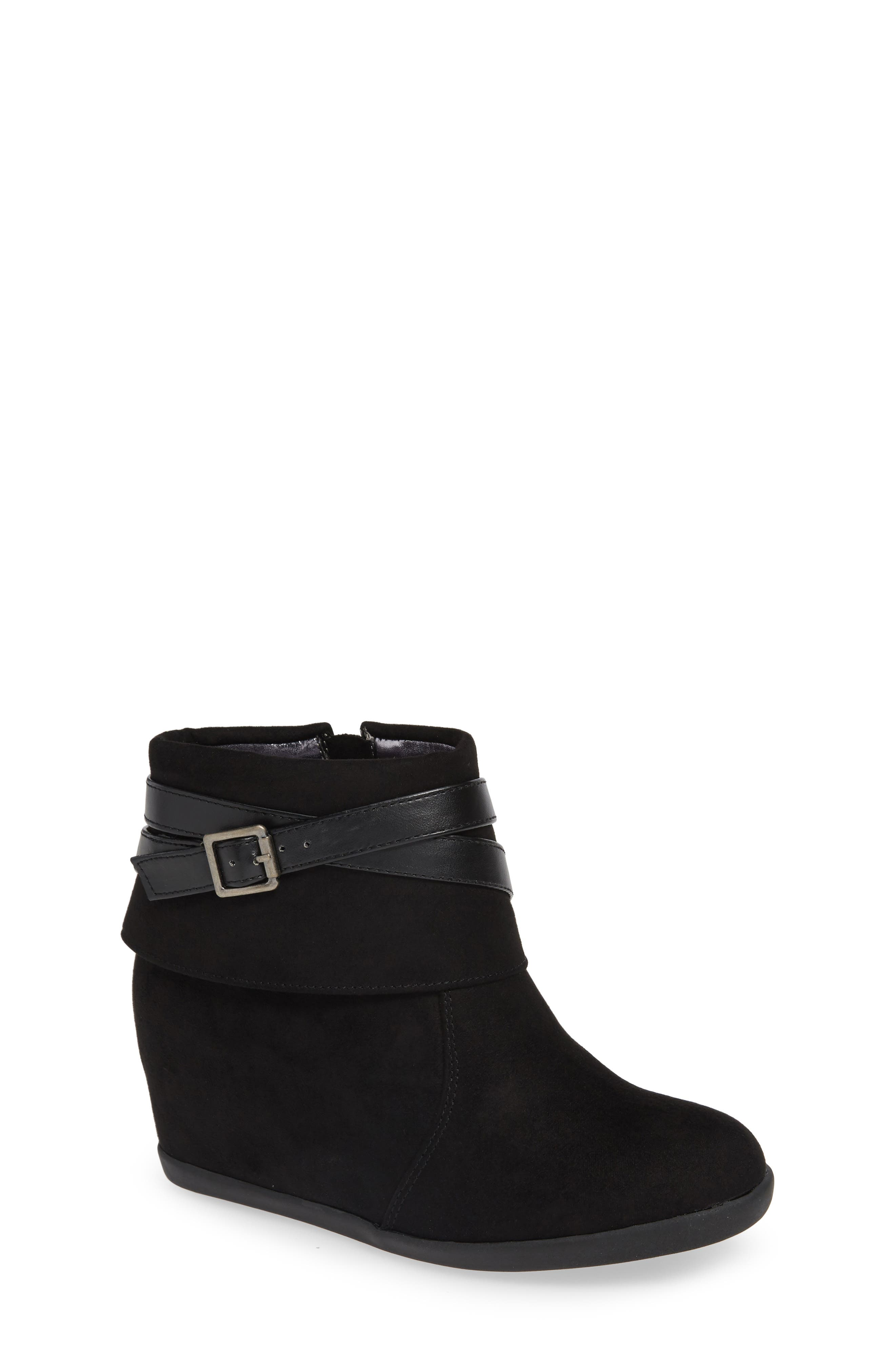 Valentina Belted Wedge Bootie,                             Main thumbnail 1, color,                             BLACK