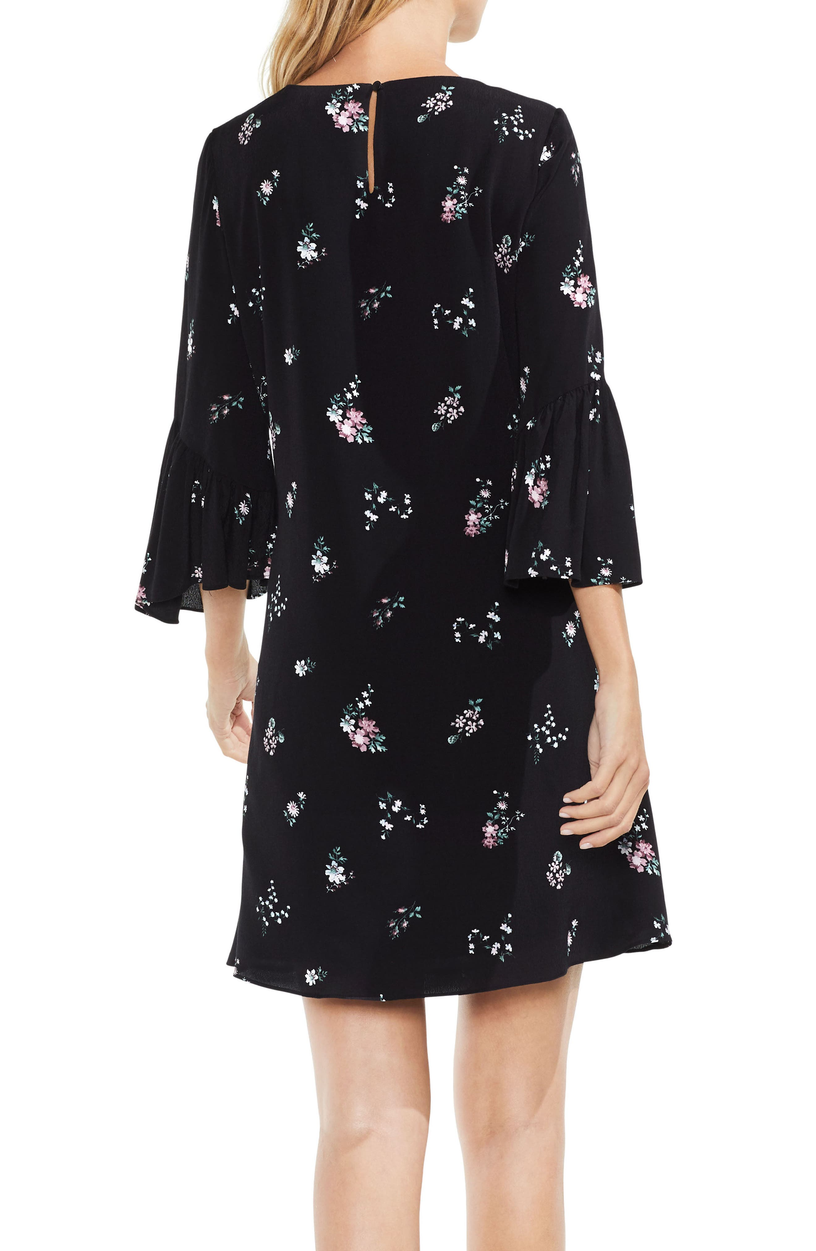 Ruffle Sleeve Floral Dress,                             Alternate thumbnail 2, color,                             006