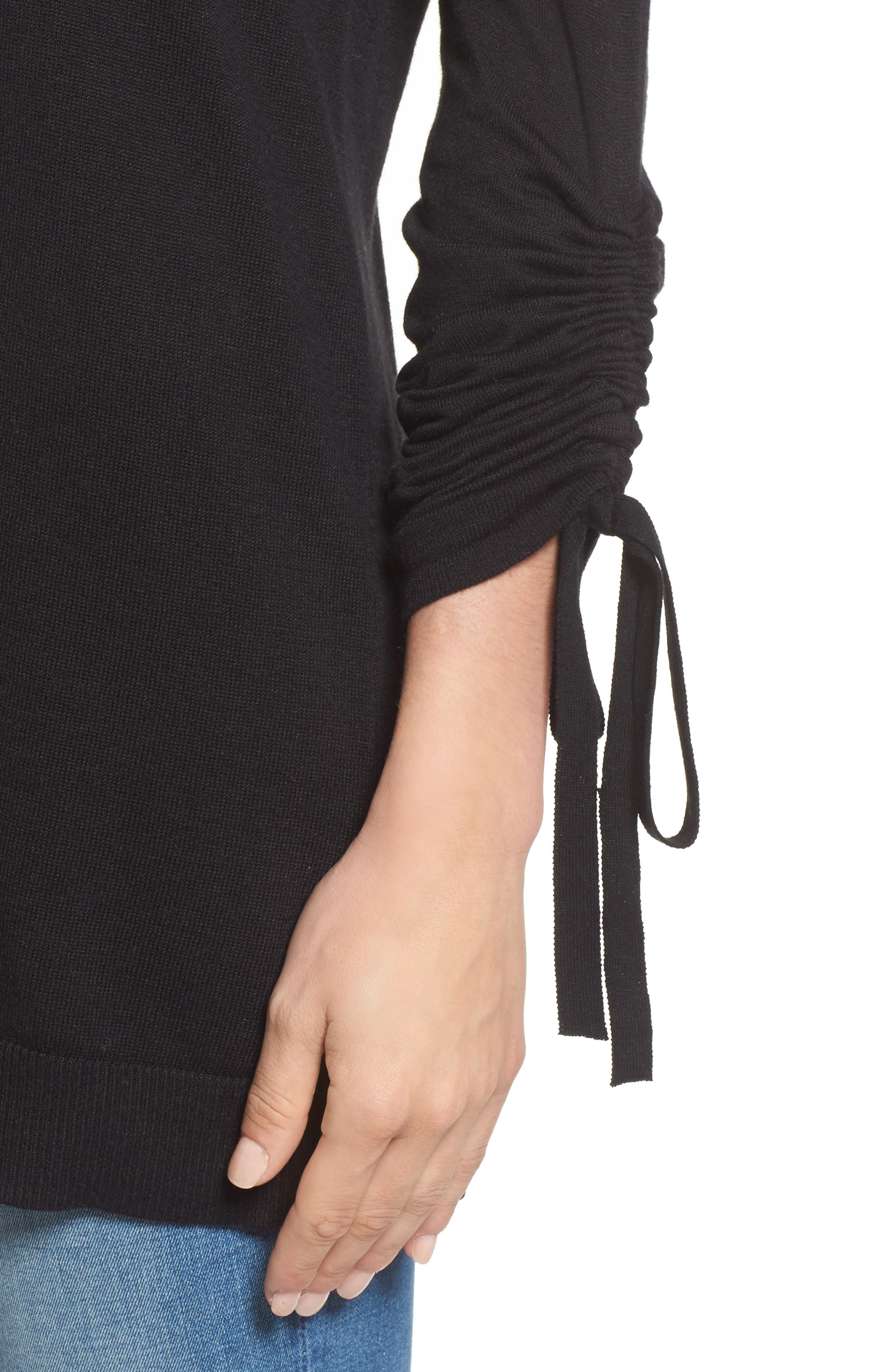 Ruched Sleeve Tunic Sweater,                             Alternate thumbnail 16, color,