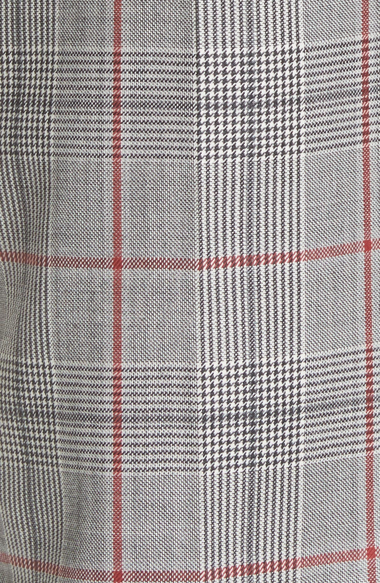 Side Stripe Plaid Wool Pants,                             Alternate thumbnail 5, color,                             BLACK WHITE GRENADINE